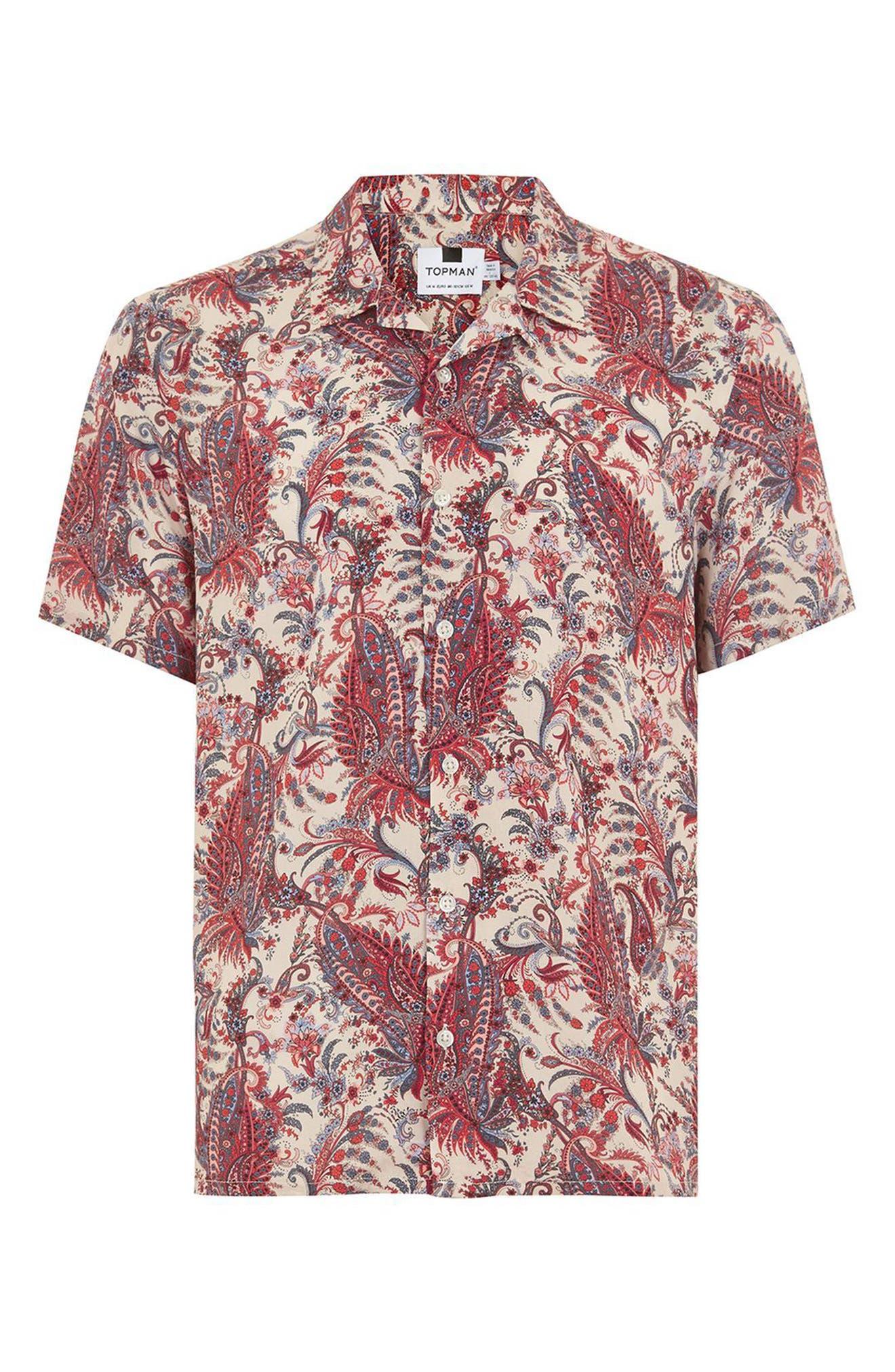 Paisley Camp Shirt,                             Alternate thumbnail 4, color,                             PINK MULTI