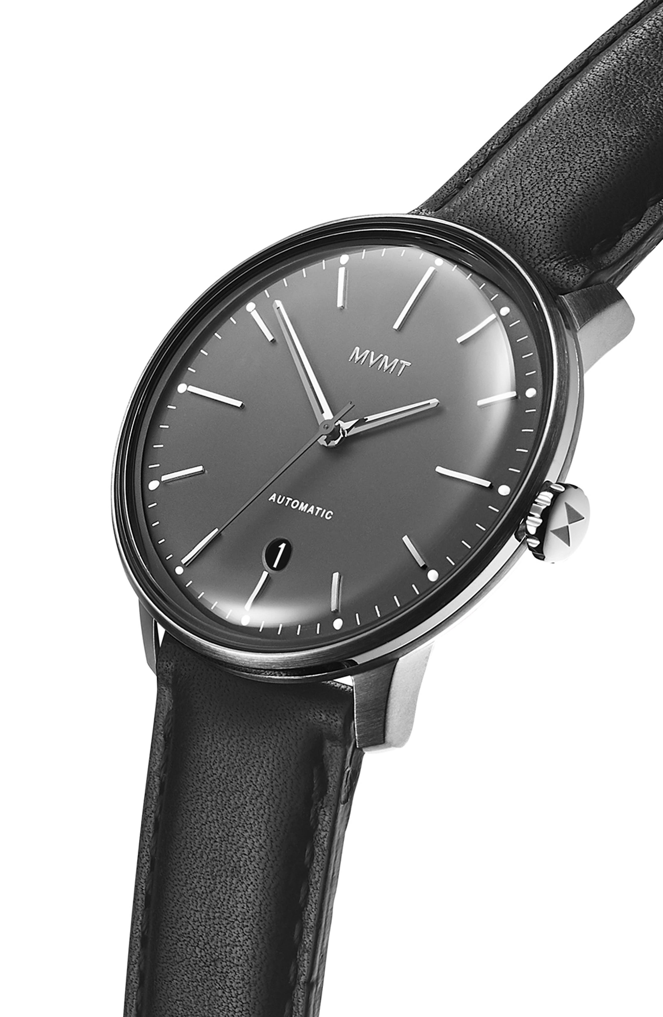 Automatic Leather Strap Watch,                             Alternate thumbnail 3, color,                             GUNMETAL/ BLACK
