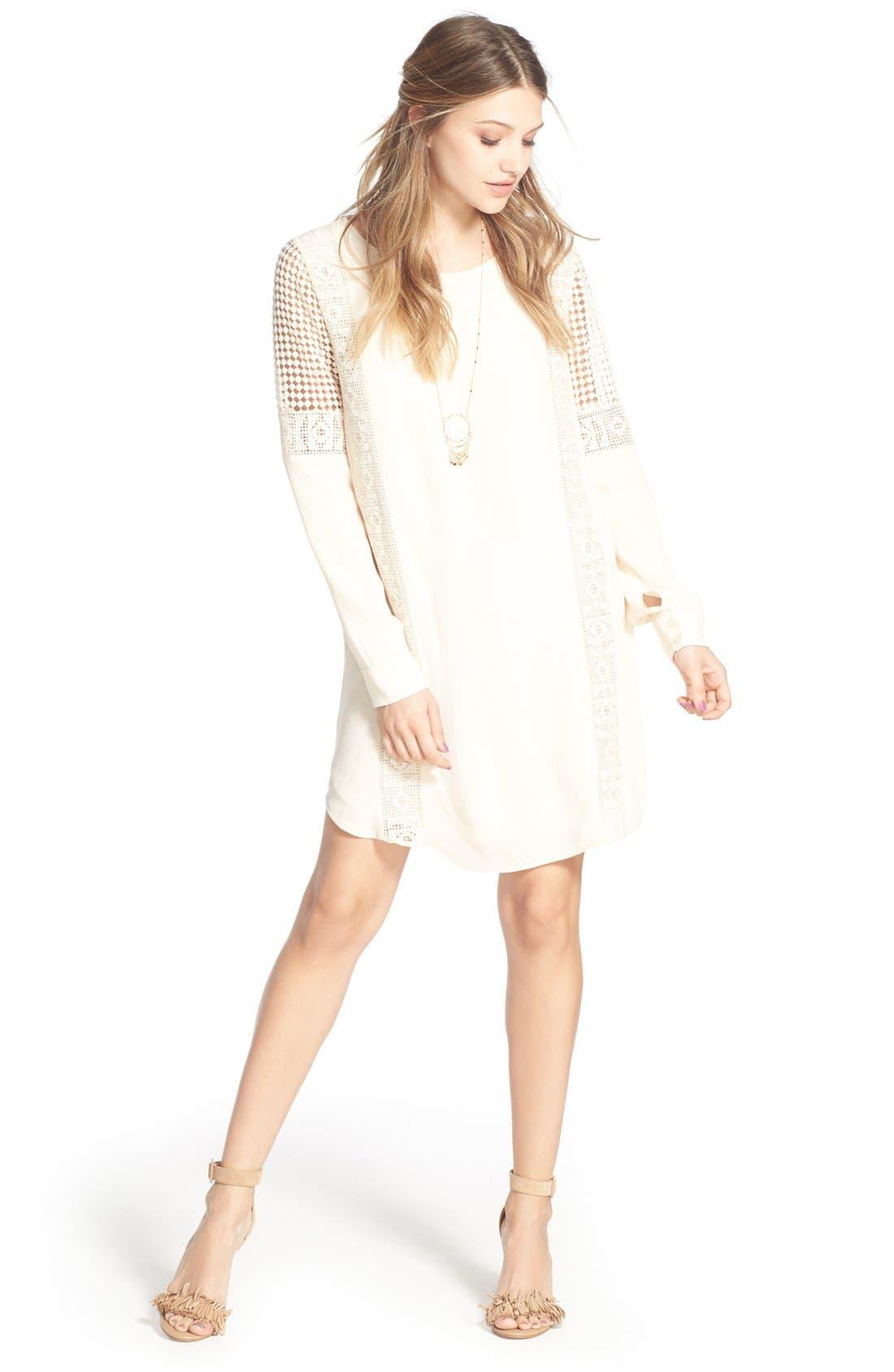ASTR Crochet Inset Cotton Shift Dress,                             Alternate thumbnail 4, color,