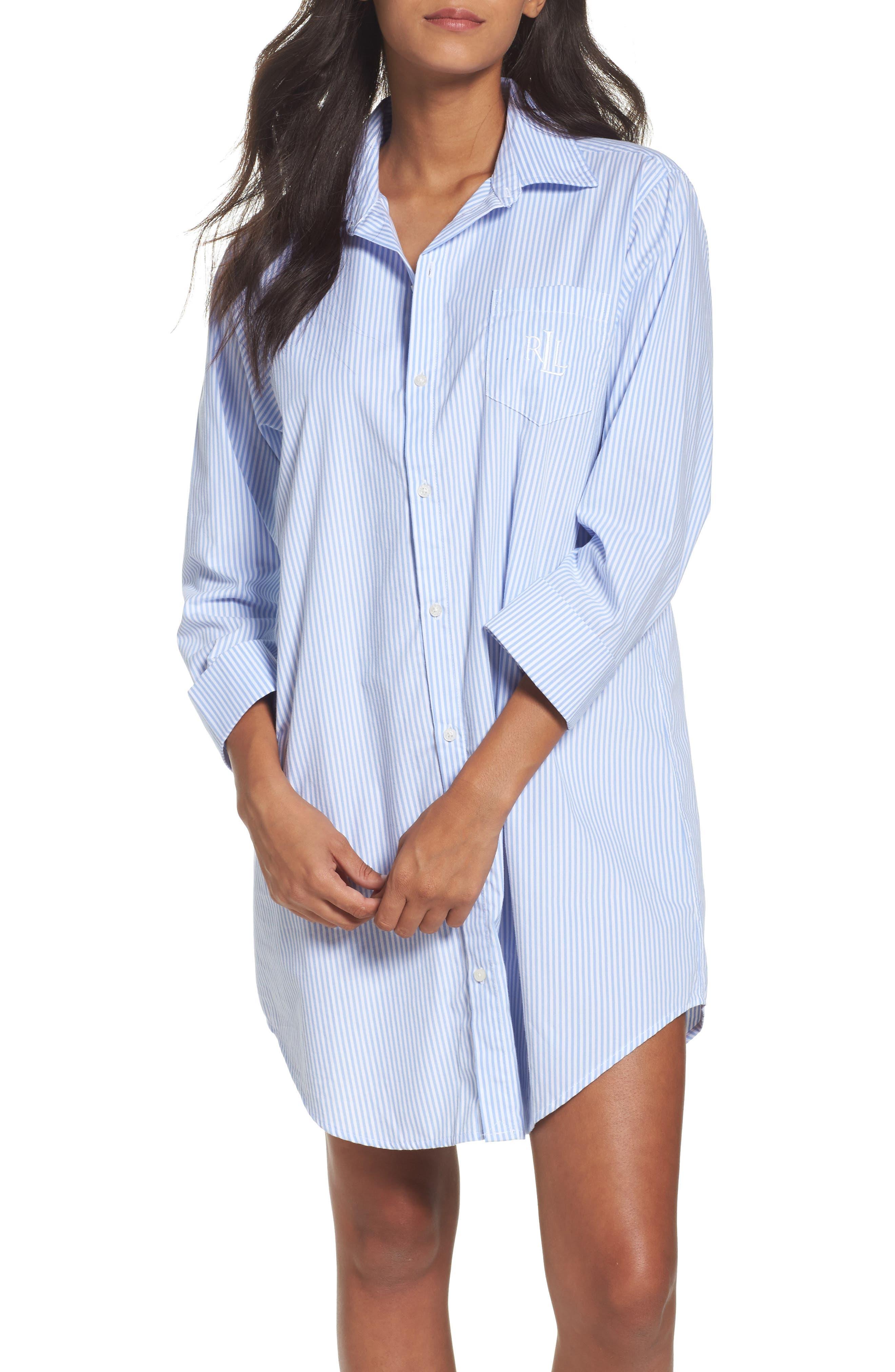 Cotton Poplin Sleep Shirt,                             Alternate thumbnail 3, color,