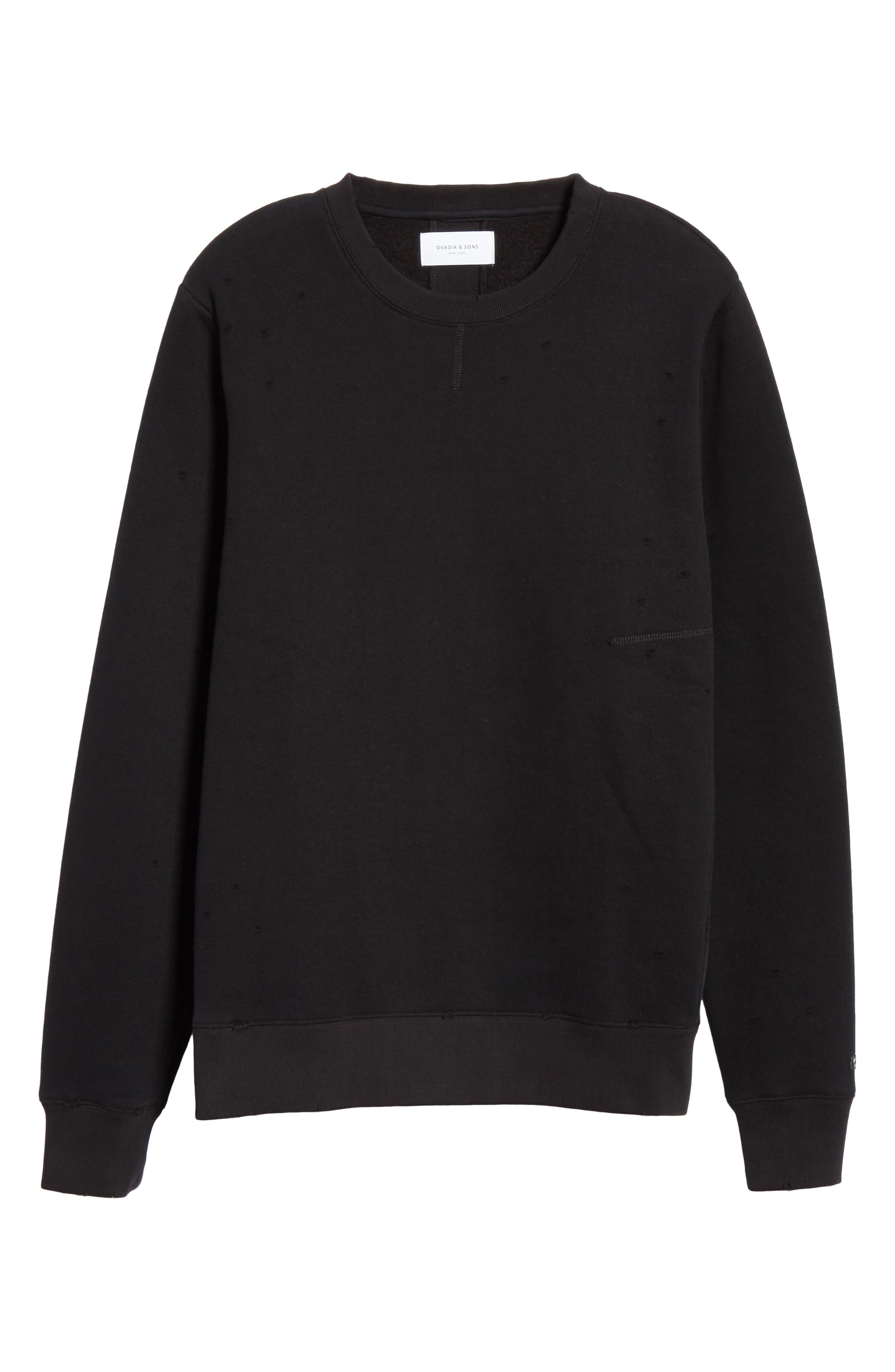 Distressed Crewneck Sweatshirt,                             Alternate thumbnail 6, color,                             BLACK