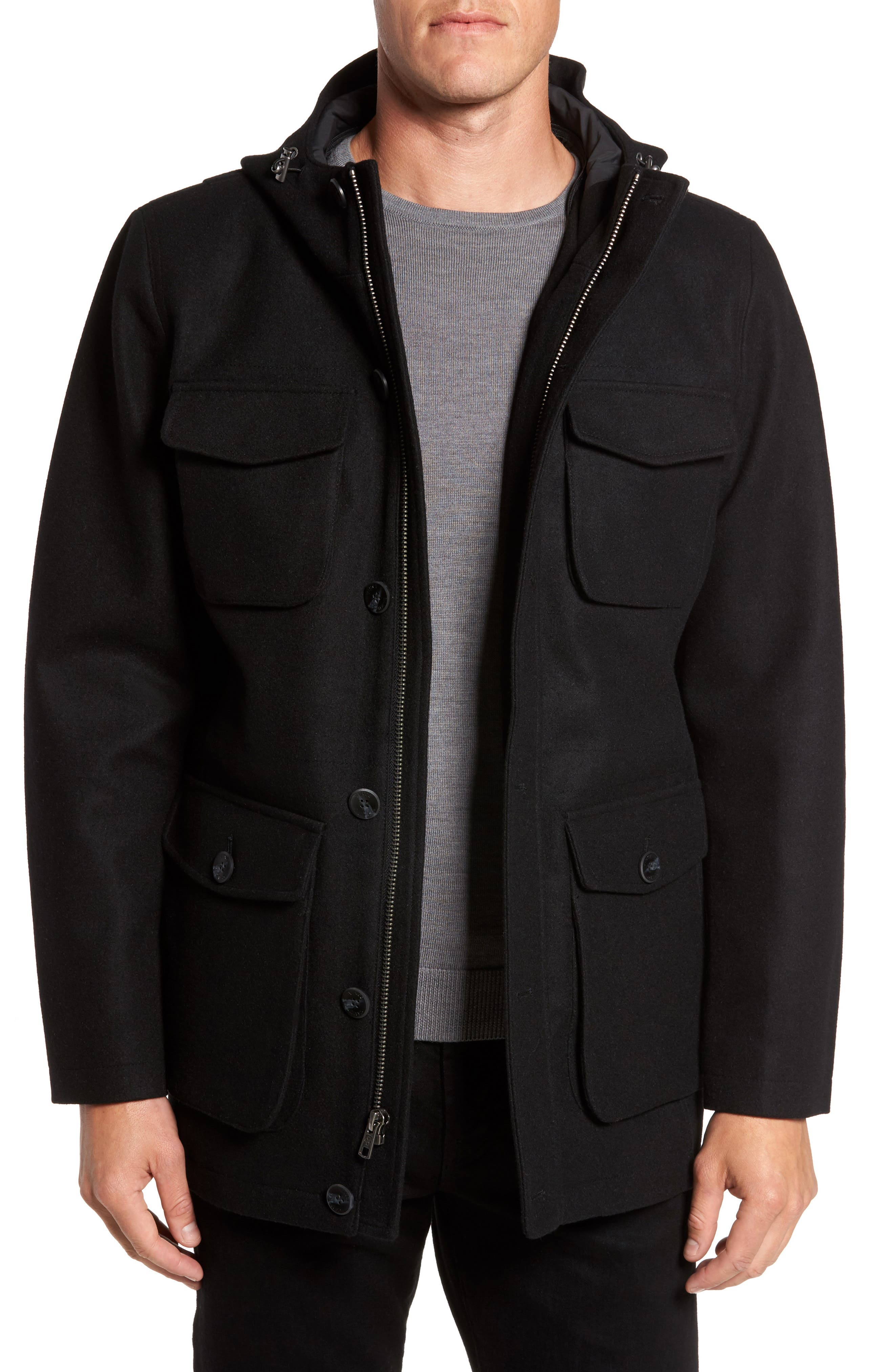 Hooded Jacket with Removable Bib,                             Alternate thumbnail 4, color,                             001