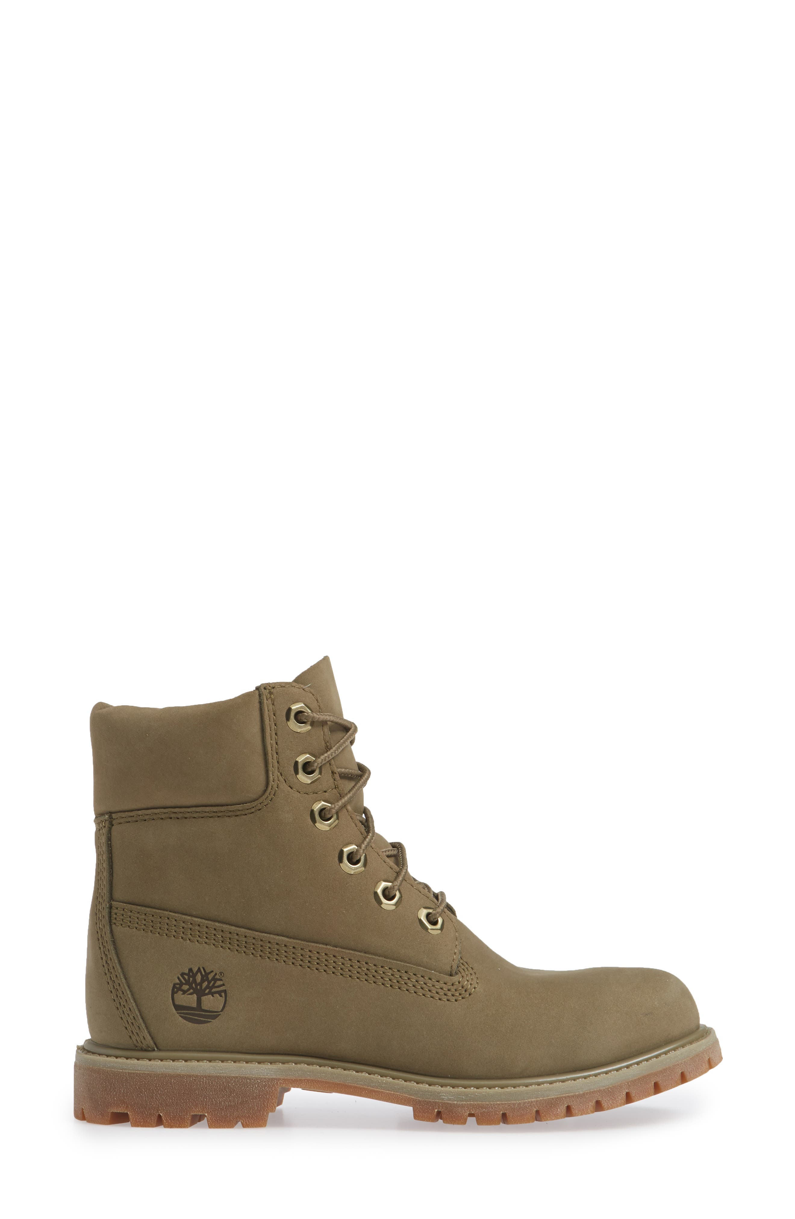 '6 Inch Premium' Waterproof Boot,                             Alternate thumbnail 3, color,                             COVERT GREEN LEATHER