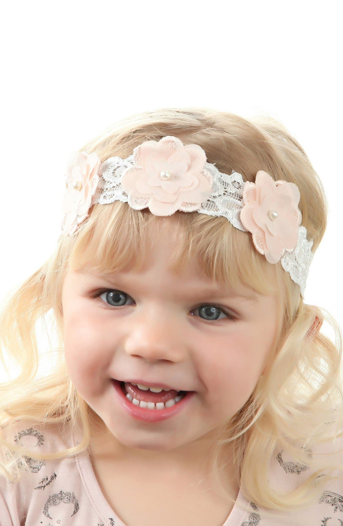 Flower Embellished Lace Head Wrap,                             Alternate thumbnail 7, color,