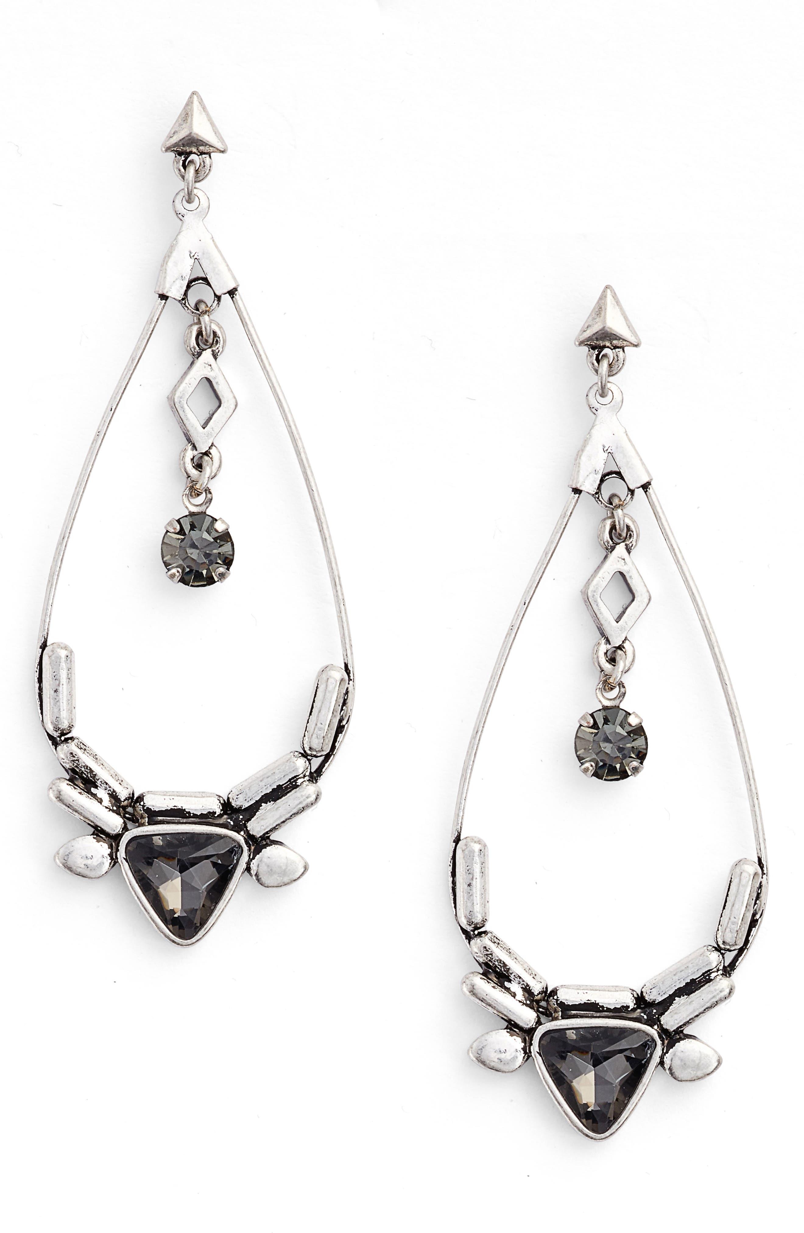 Triangle Stone Drop Earrings,                             Main thumbnail 1, color,                             040