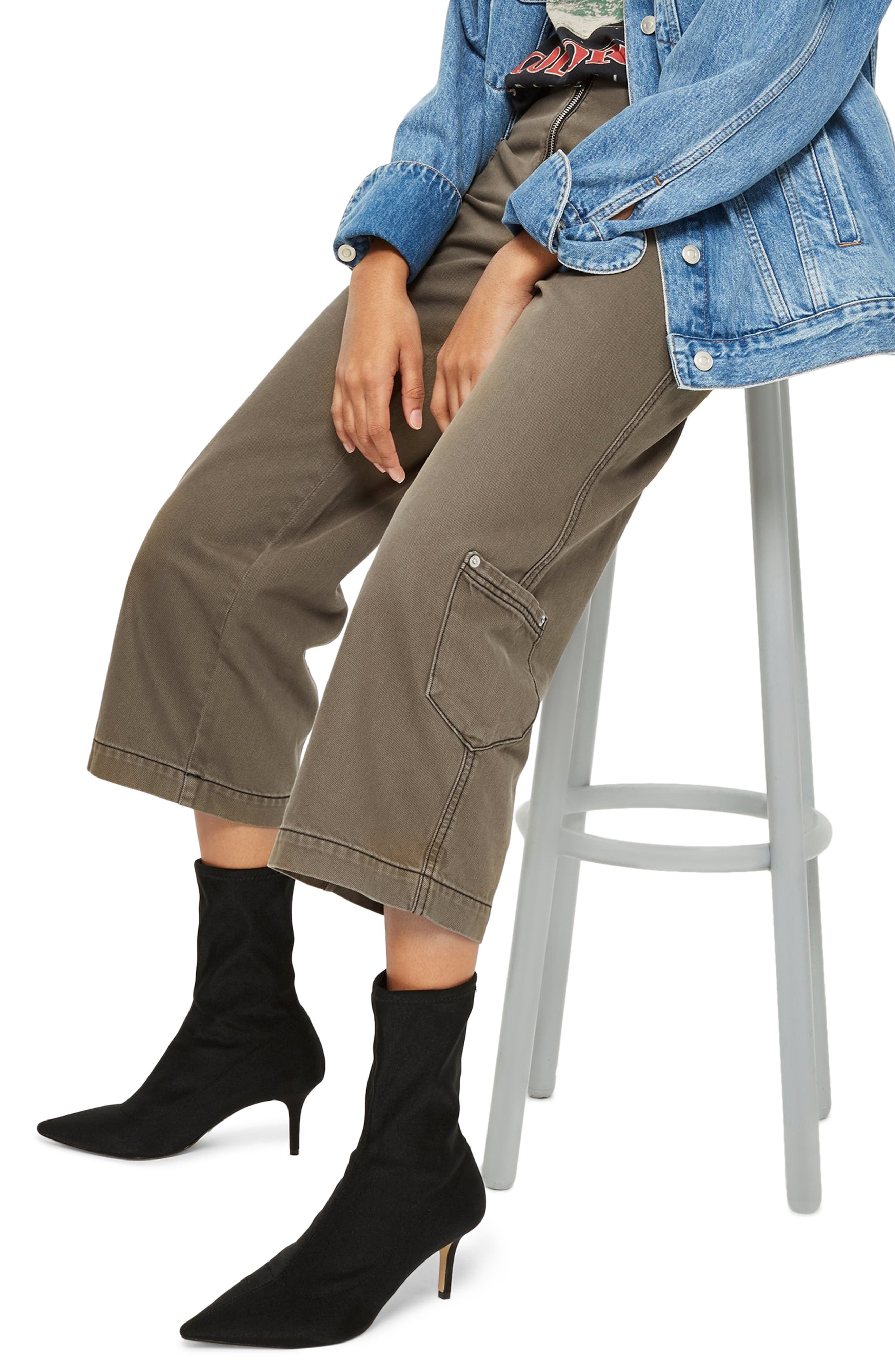 Straight Leg Crop Utility Jeans,                         Main,                         color, OLIVE