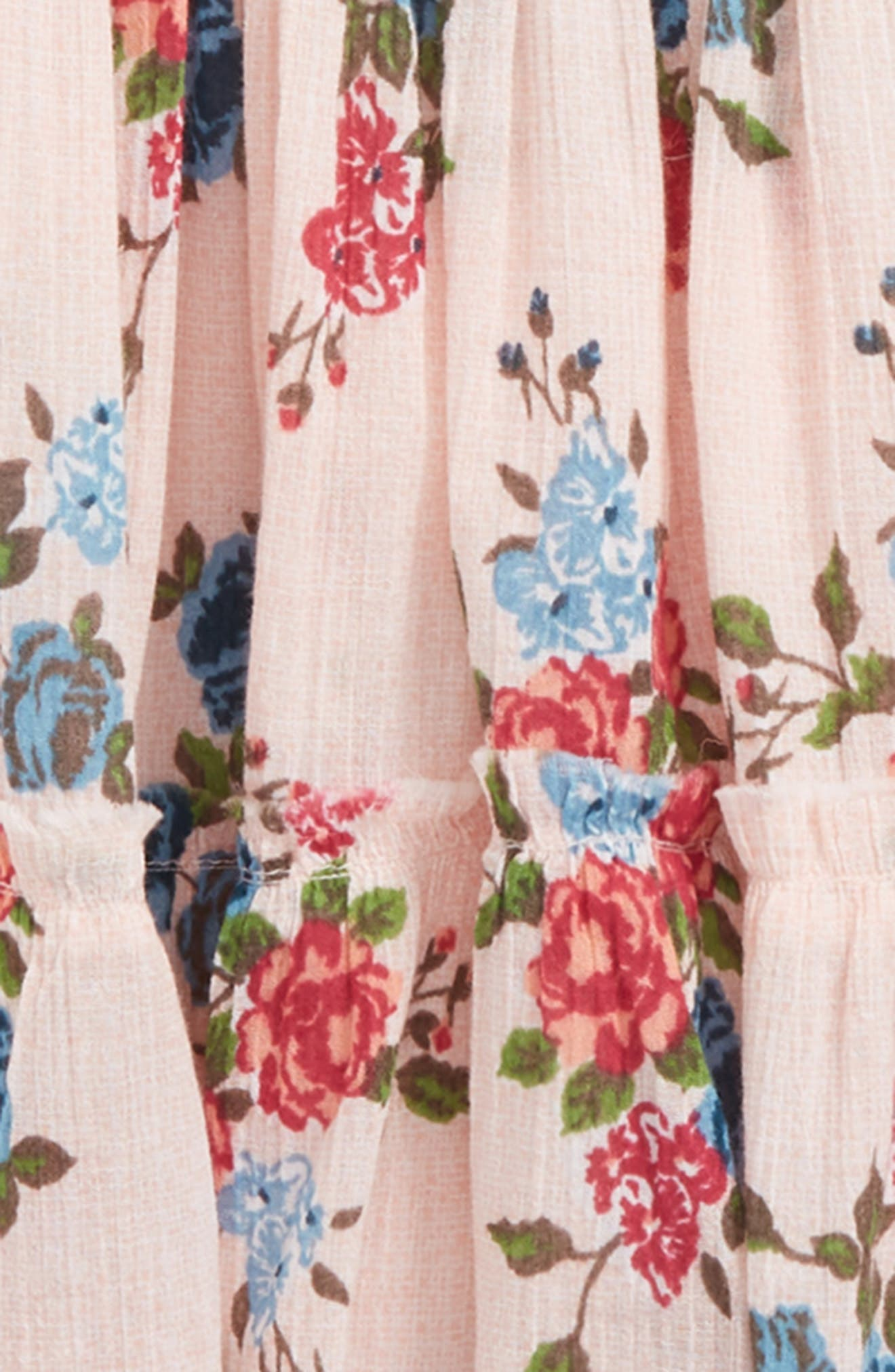 Floral Frayed Ruffle Hem Skirt,                             Alternate thumbnail 2, color,                             680