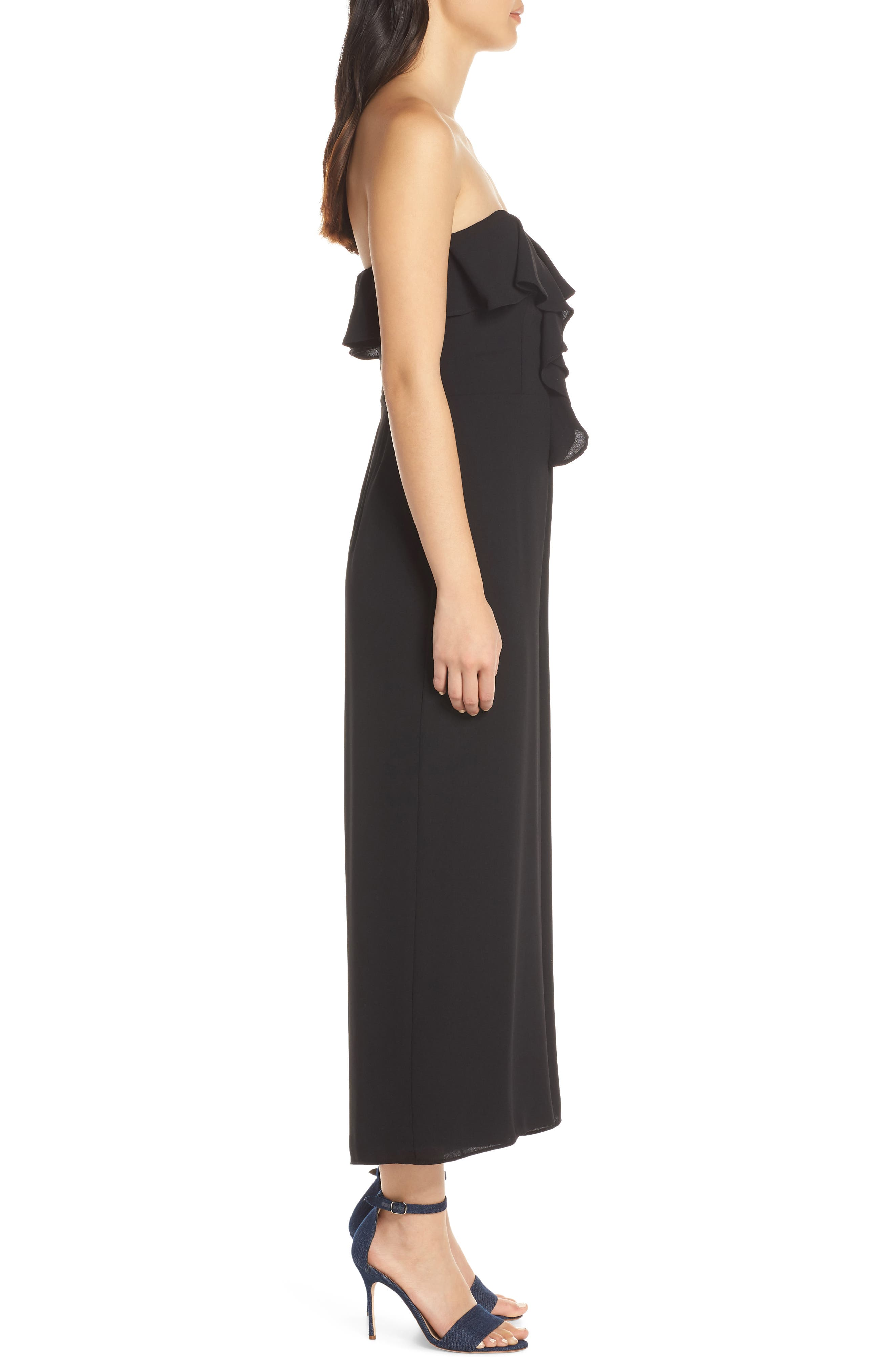 CHELSEA28,                             Strapless Ruffle Front Jumpsuit,                             Alternate thumbnail 3, color,                             BLACK