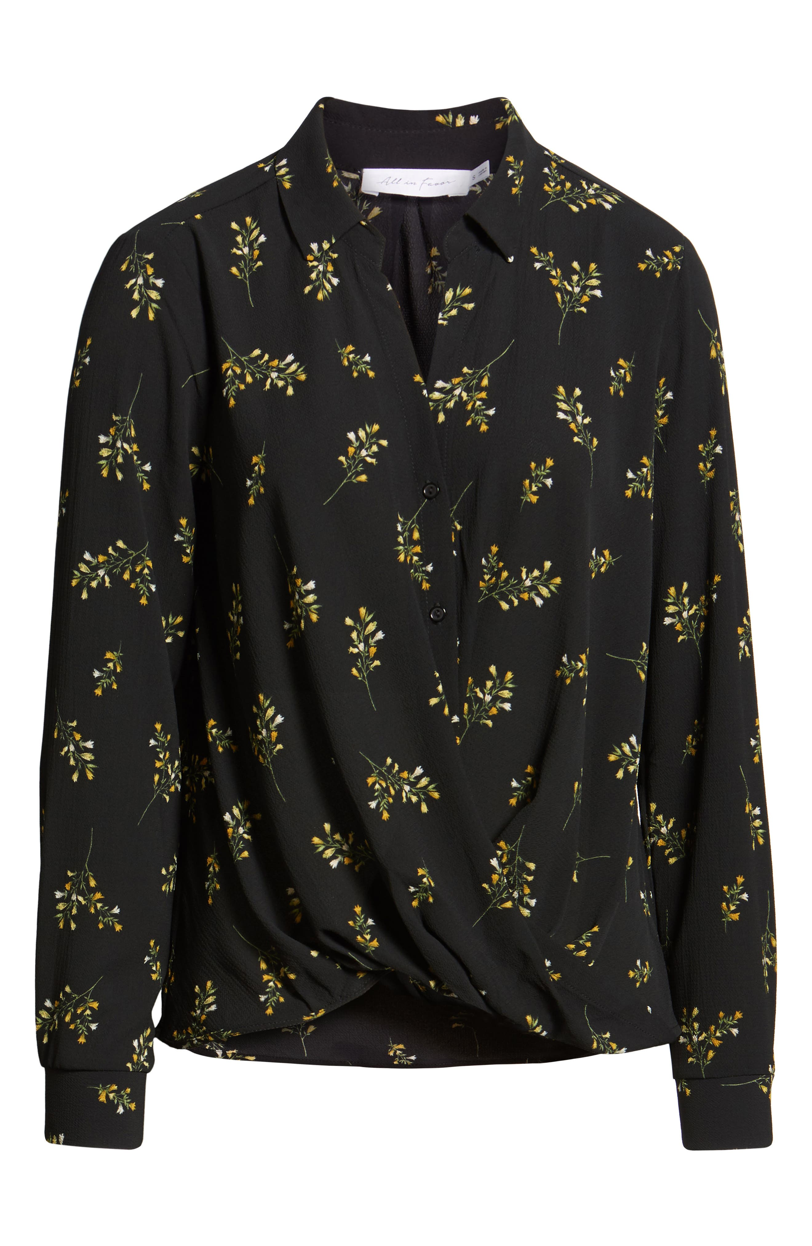 Patterned Drape Front Blouse,                             Alternate thumbnail 6, color,                             BLACK GROUND FLORAL