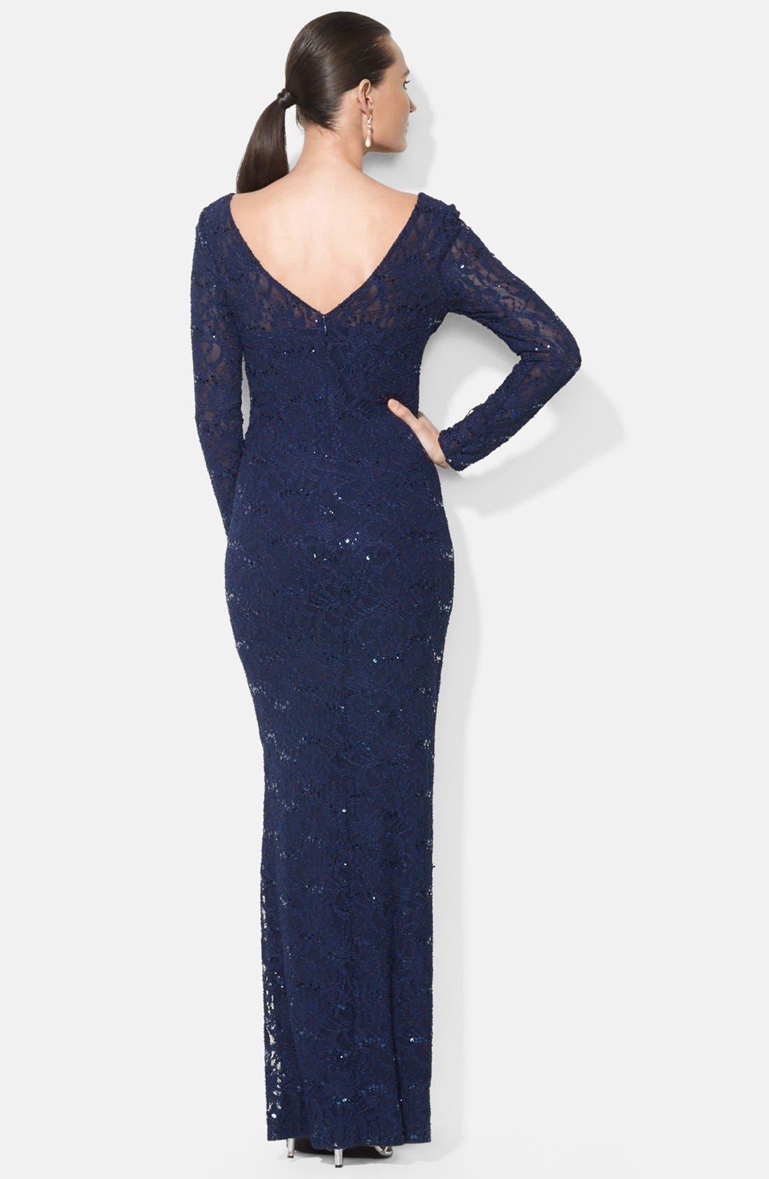 Sequin Lace Gown,                             Alternate thumbnail 2, color,                             400