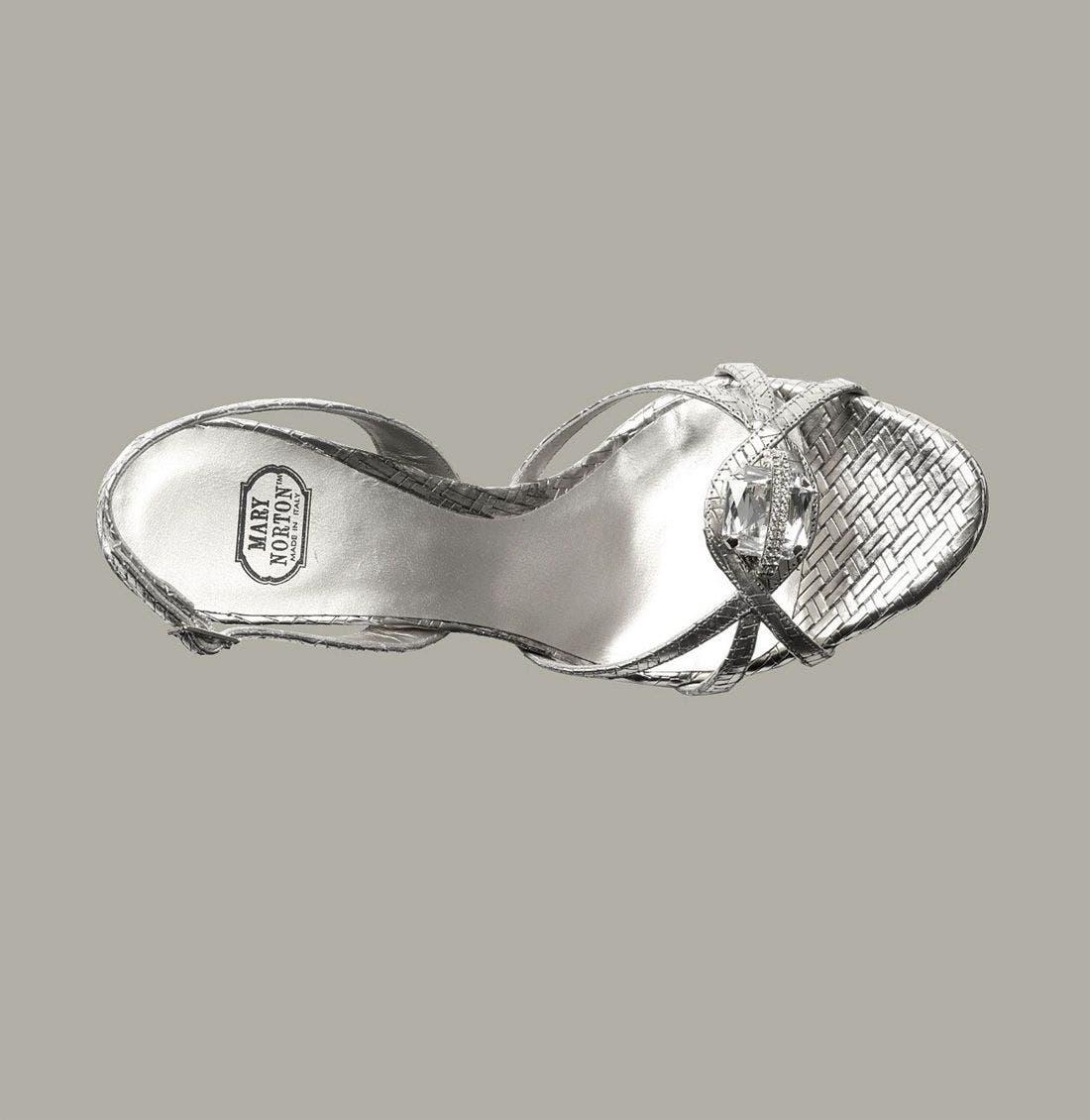 MARY NORTON,                             Metallic Leather Sandal with Swarovski Crystal,                             Alternate thumbnail 3, color,                             040