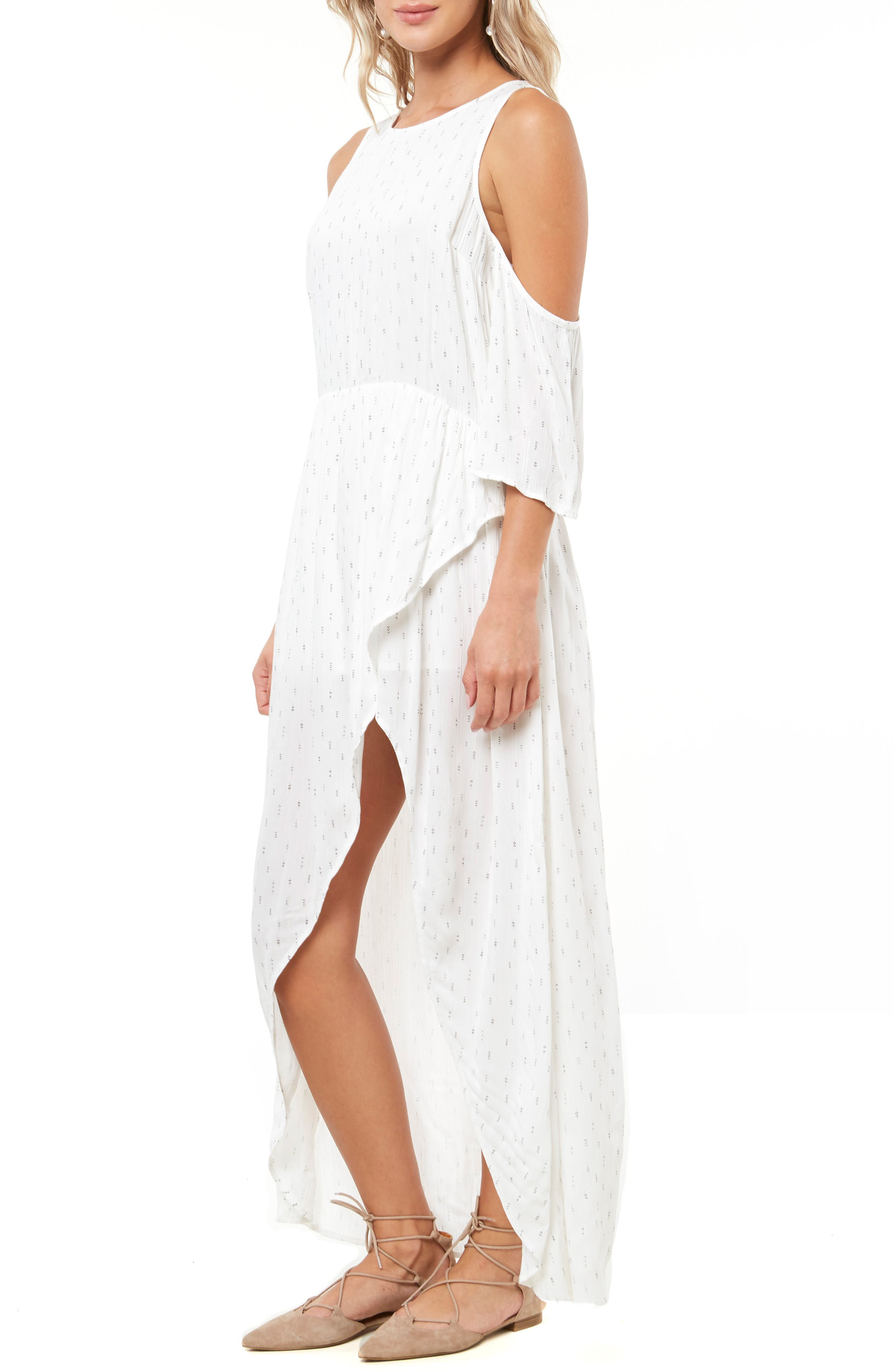 Blake Cold Shoulder Maxi Dress,                             Alternate thumbnail 3, color,                             NAKED