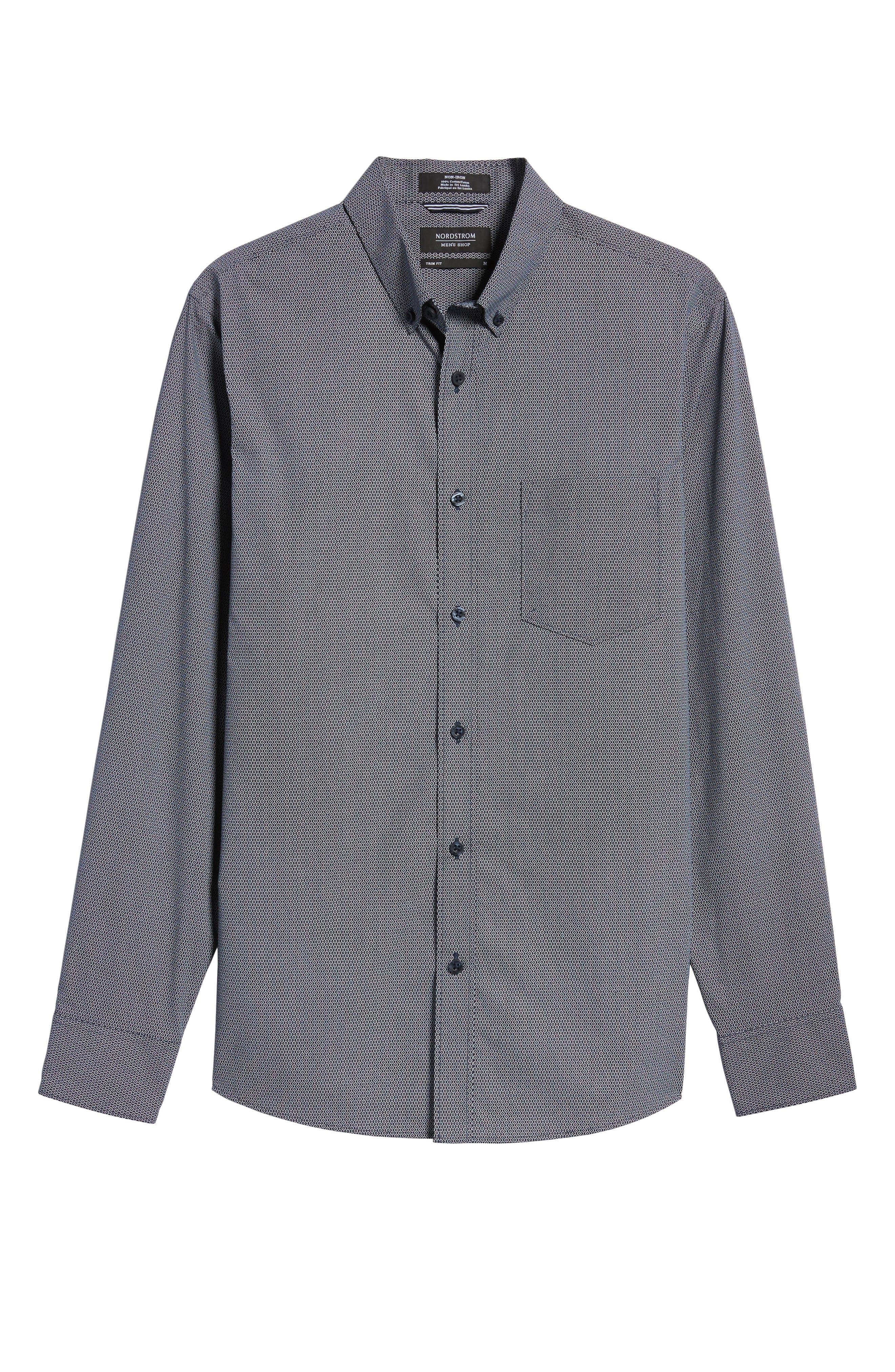 Slim Fit Non-Iron Dot Print Sport Shirt,                             Alternate thumbnail 6, color,                             410