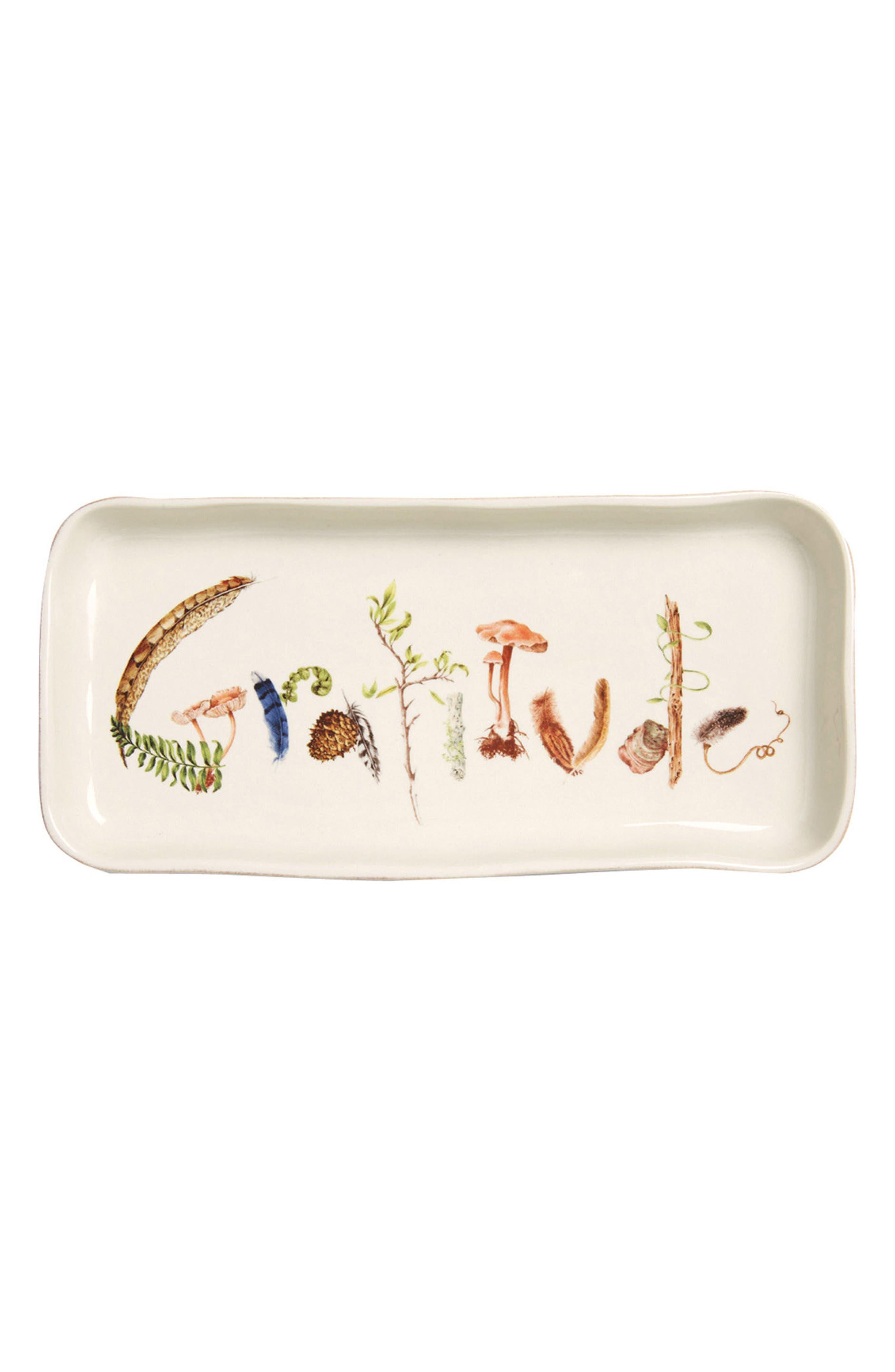 Forest Walk Gratitude Ceramic Tray,                             Main thumbnail 1, color,                             CAF AU LAIT
