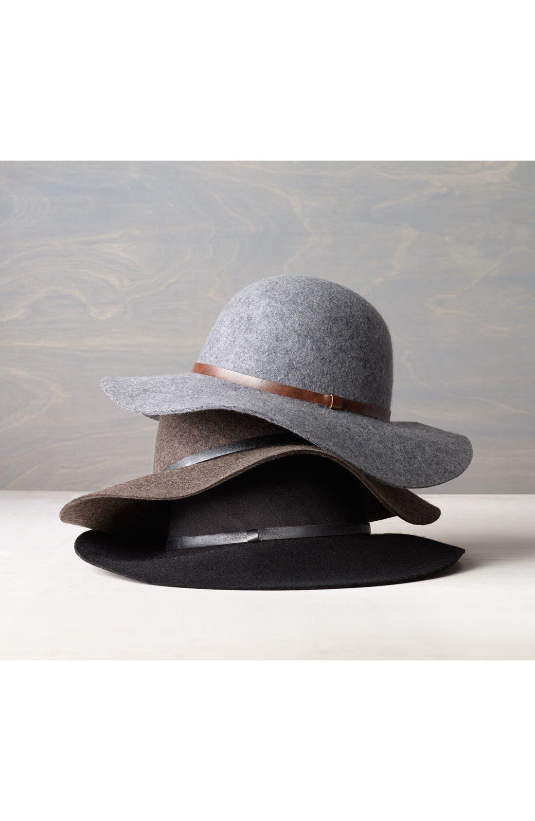Floppy Wool Hat,                             Alternate thumbnail 3, color,                             001