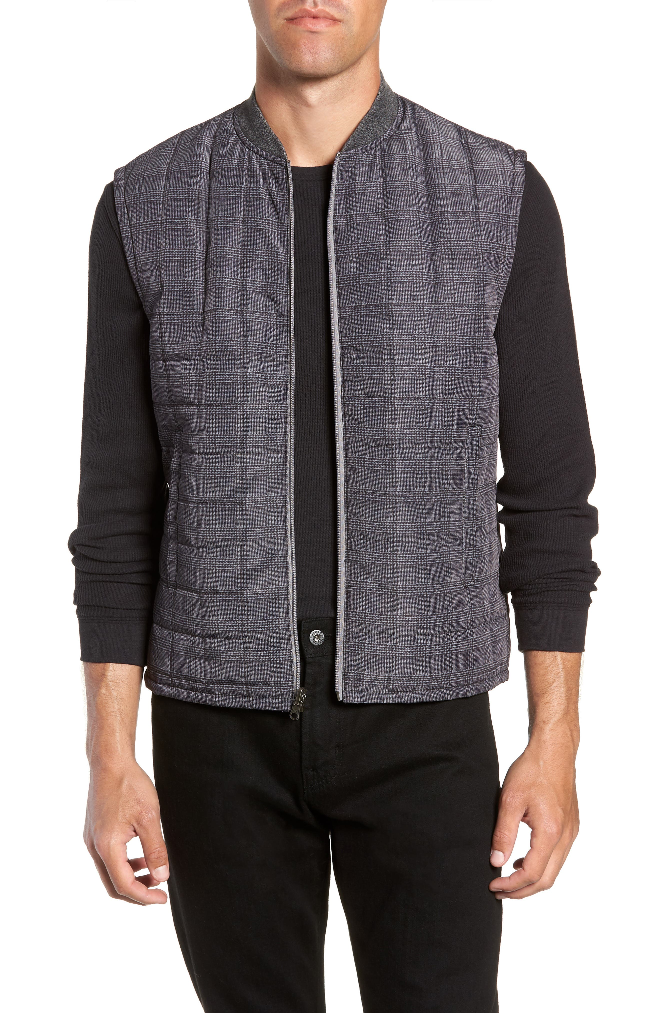 Romeo Plaid Quilted Vest,                         Main,                         color, CHARCOAL
