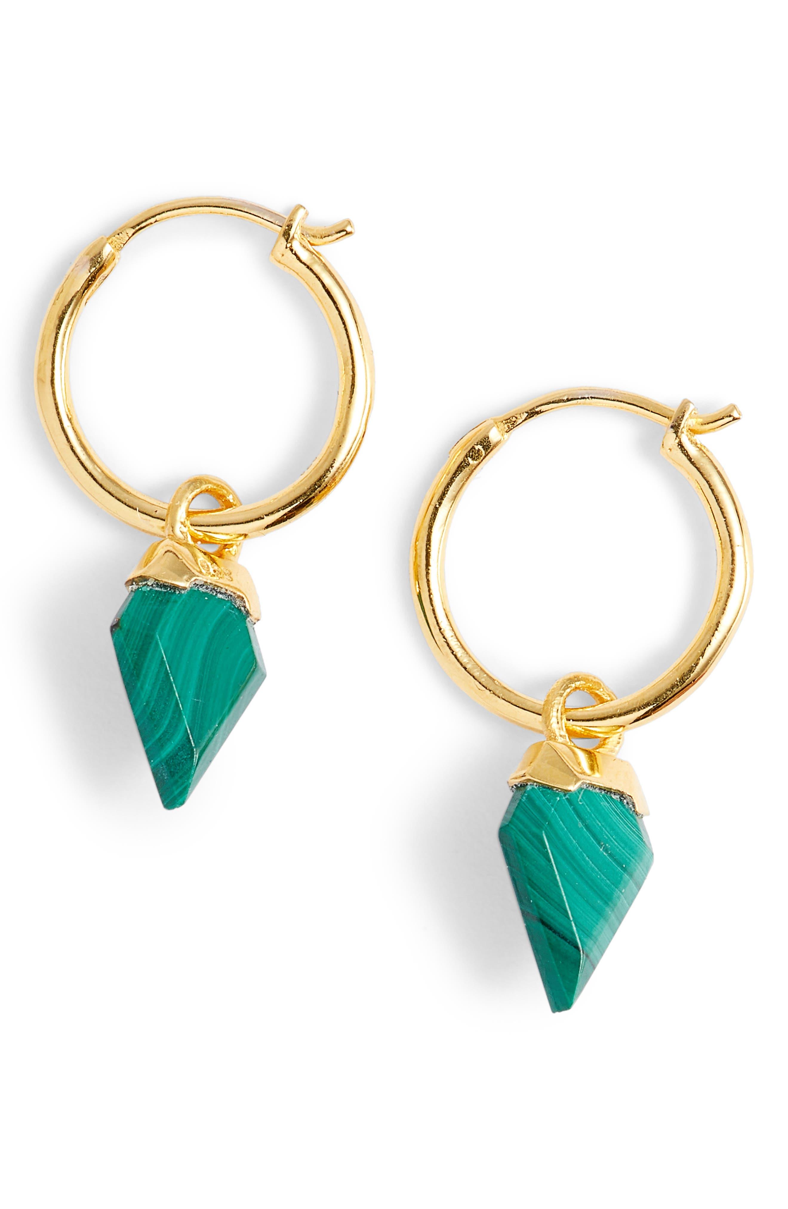 Mini Shield Hoop Earrings,                             Main thumbnail 1, color,                             MALACHITE/ GOLD