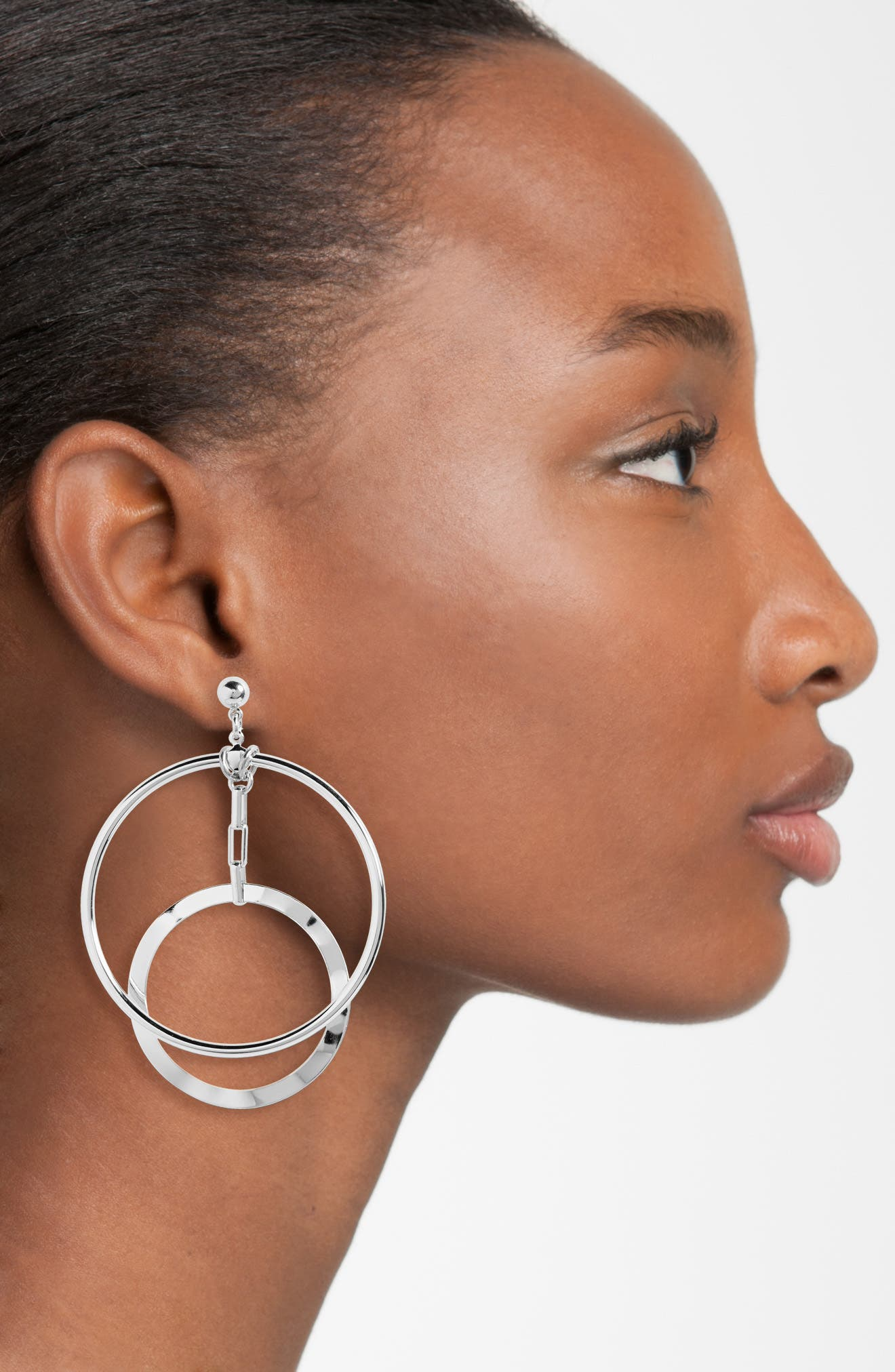 Eclipse Hoop Earrings,                             Alternate thumbnail 2, color,                             SILVER