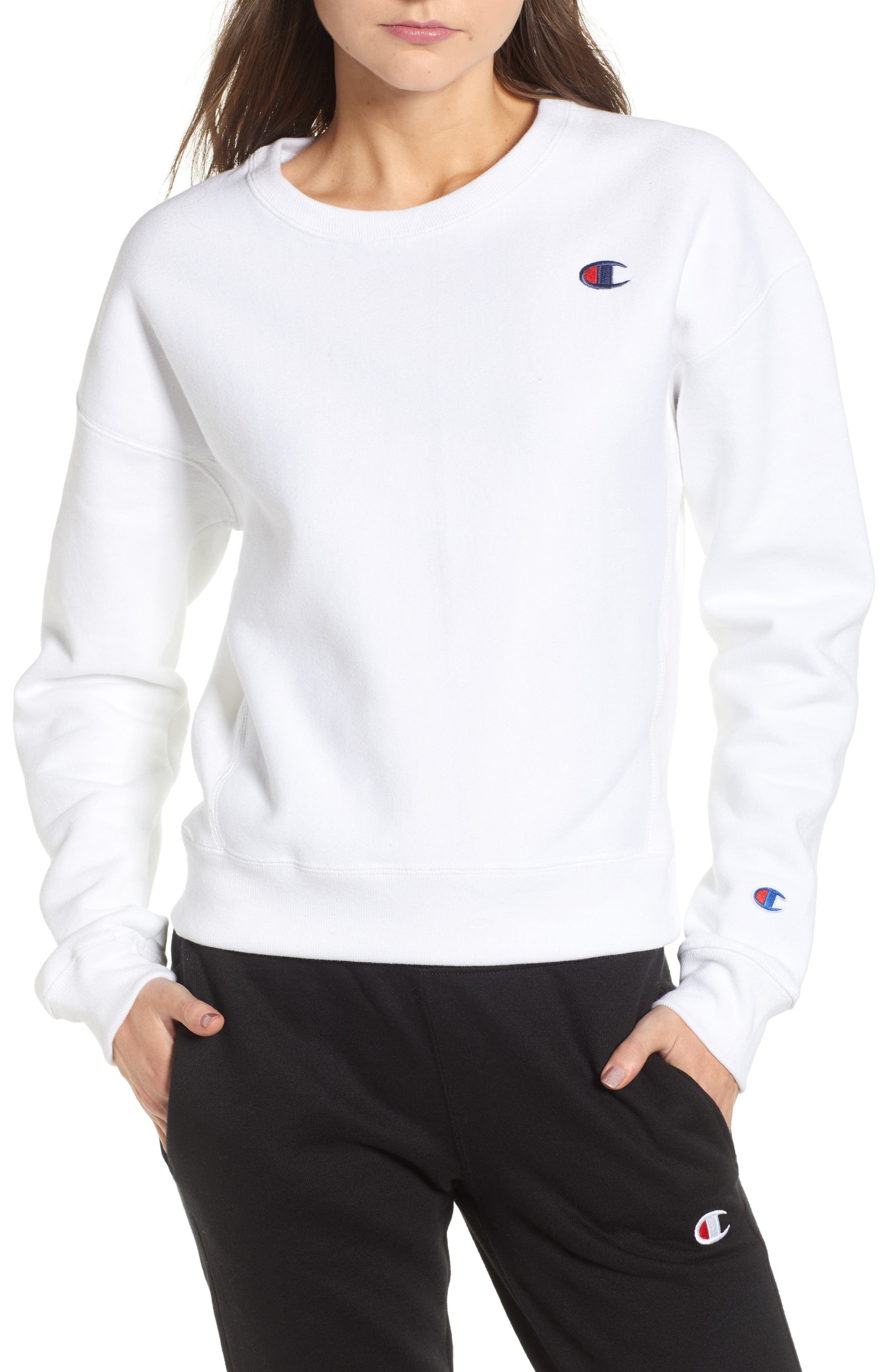 Reverse Weave Crew Sweatshirt,                         Main,                         color, 100
