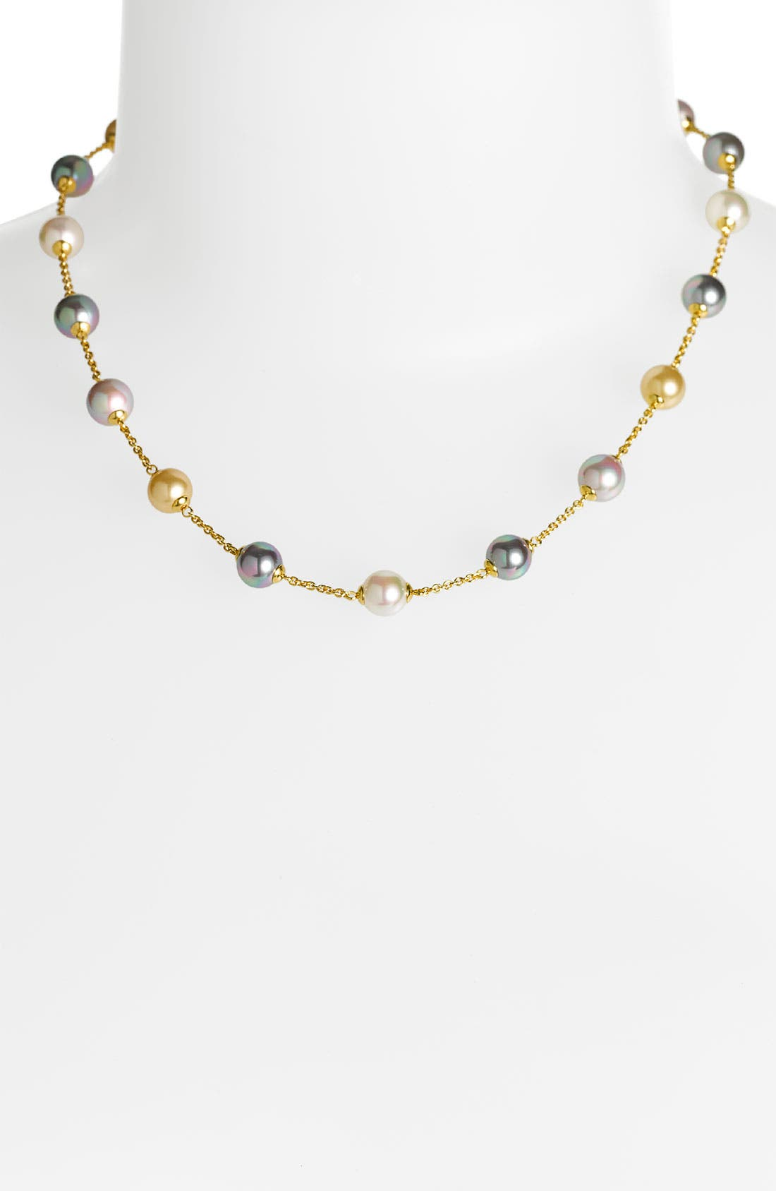 8mm Pearl Station Necklace,                             Alternate thumbnail 2, color,                             GOLD/ CHAMPAGNE
