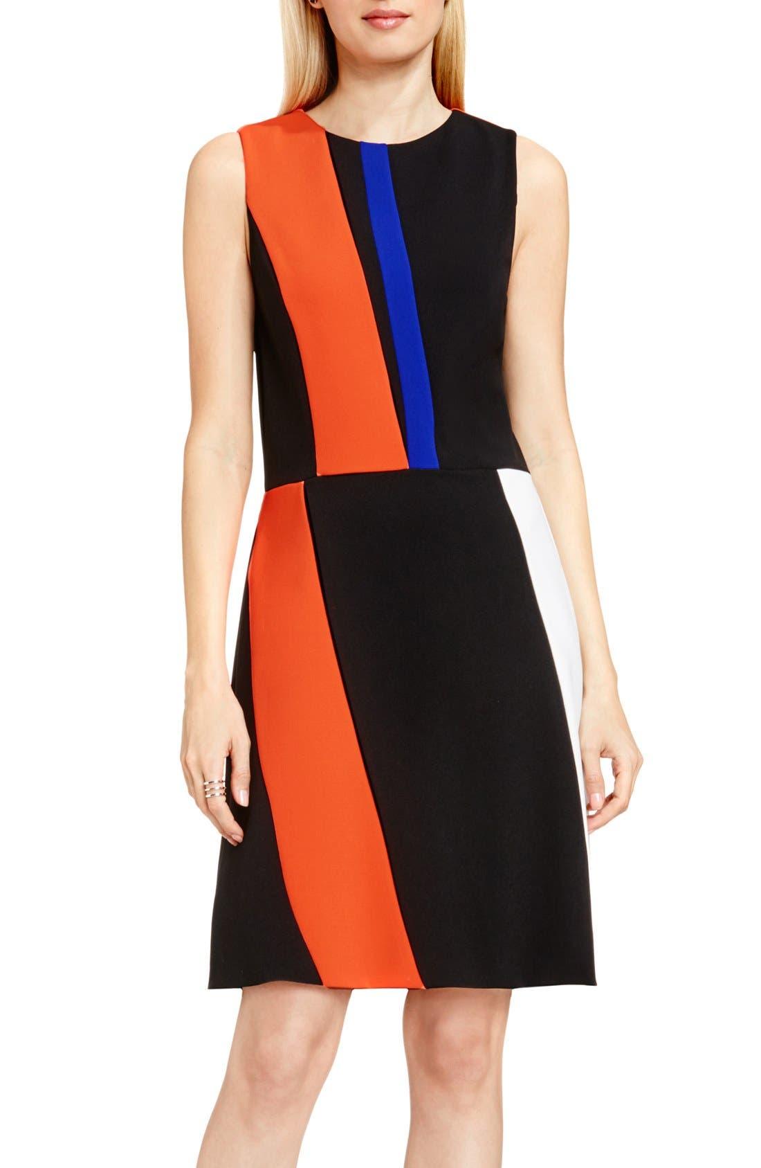 Colorblock Sleeveless A-Line Dress, Main, color, 846