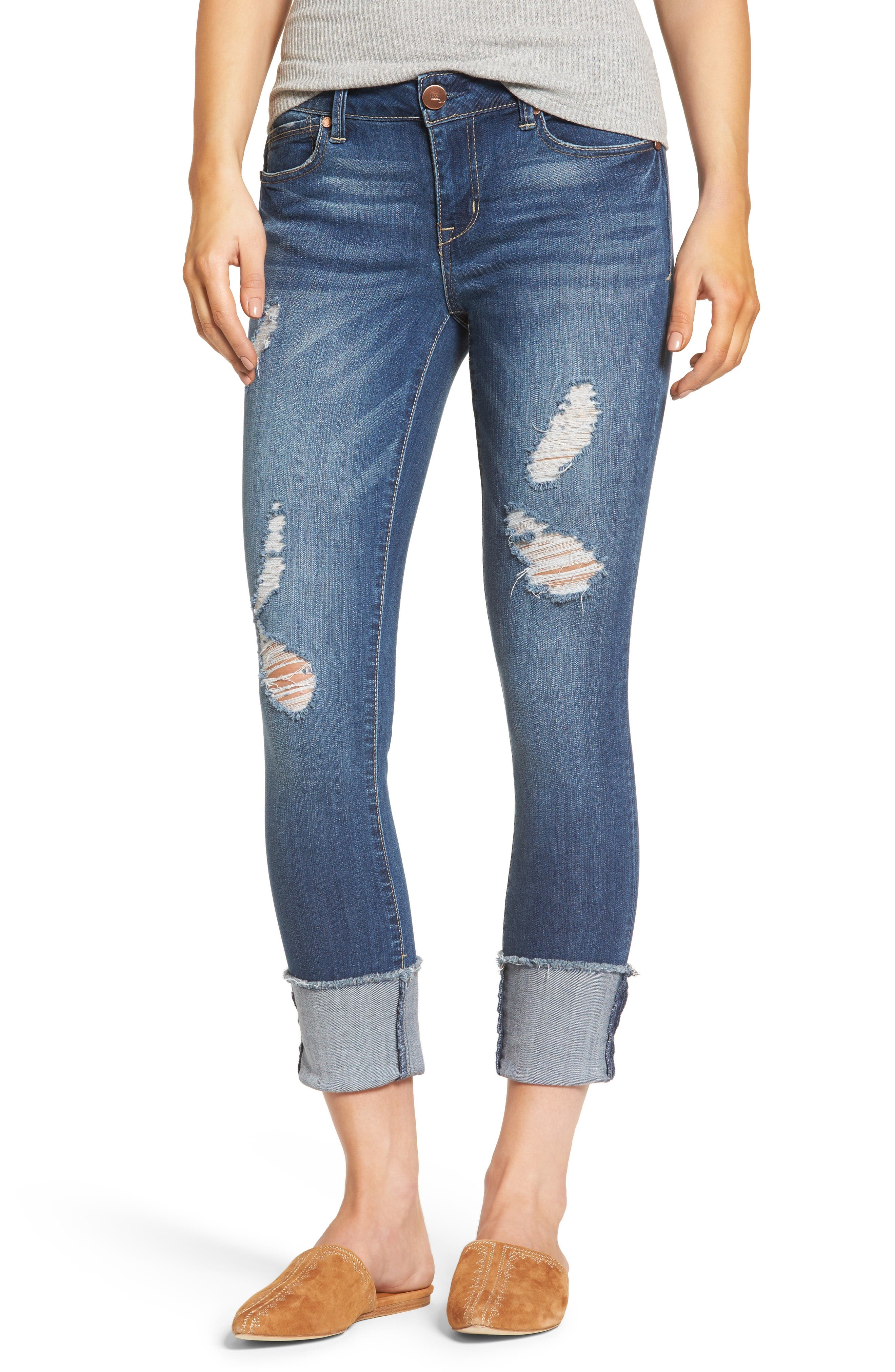 Cuffed Crop Skinny Jeans,                             Main thumbnail 1, color,                             IRENE