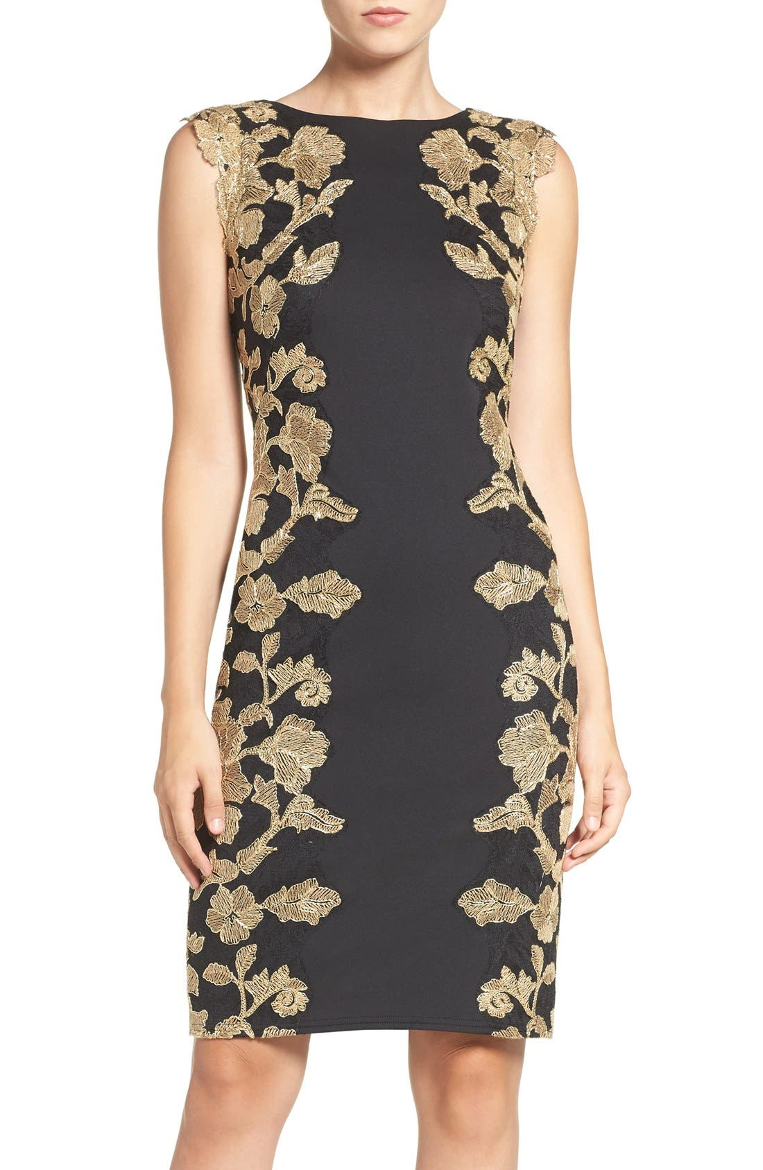 Embroidered Neoprene Sheath Dress,                             Main thumbnail 1, color,                             006