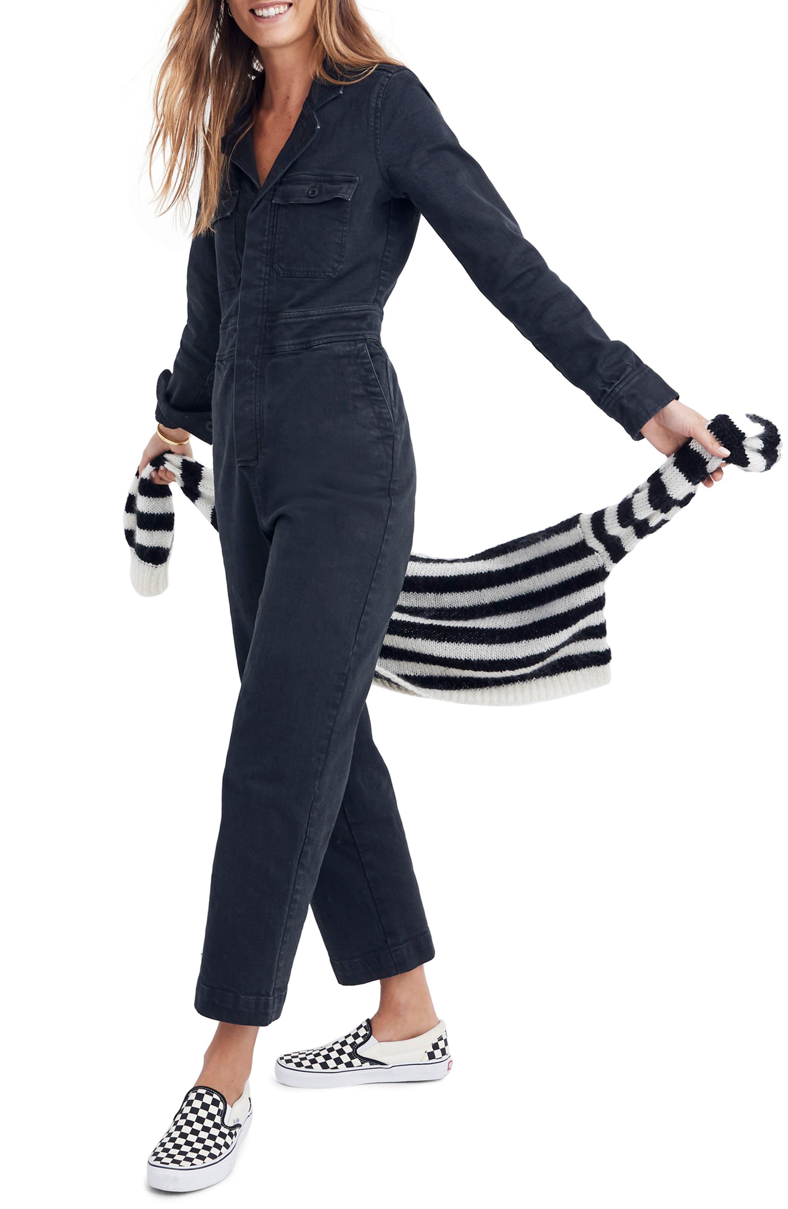 Garment Dyed Denim Slim Coverall Jumpsuit, Main, color, CLASSIC BLACK