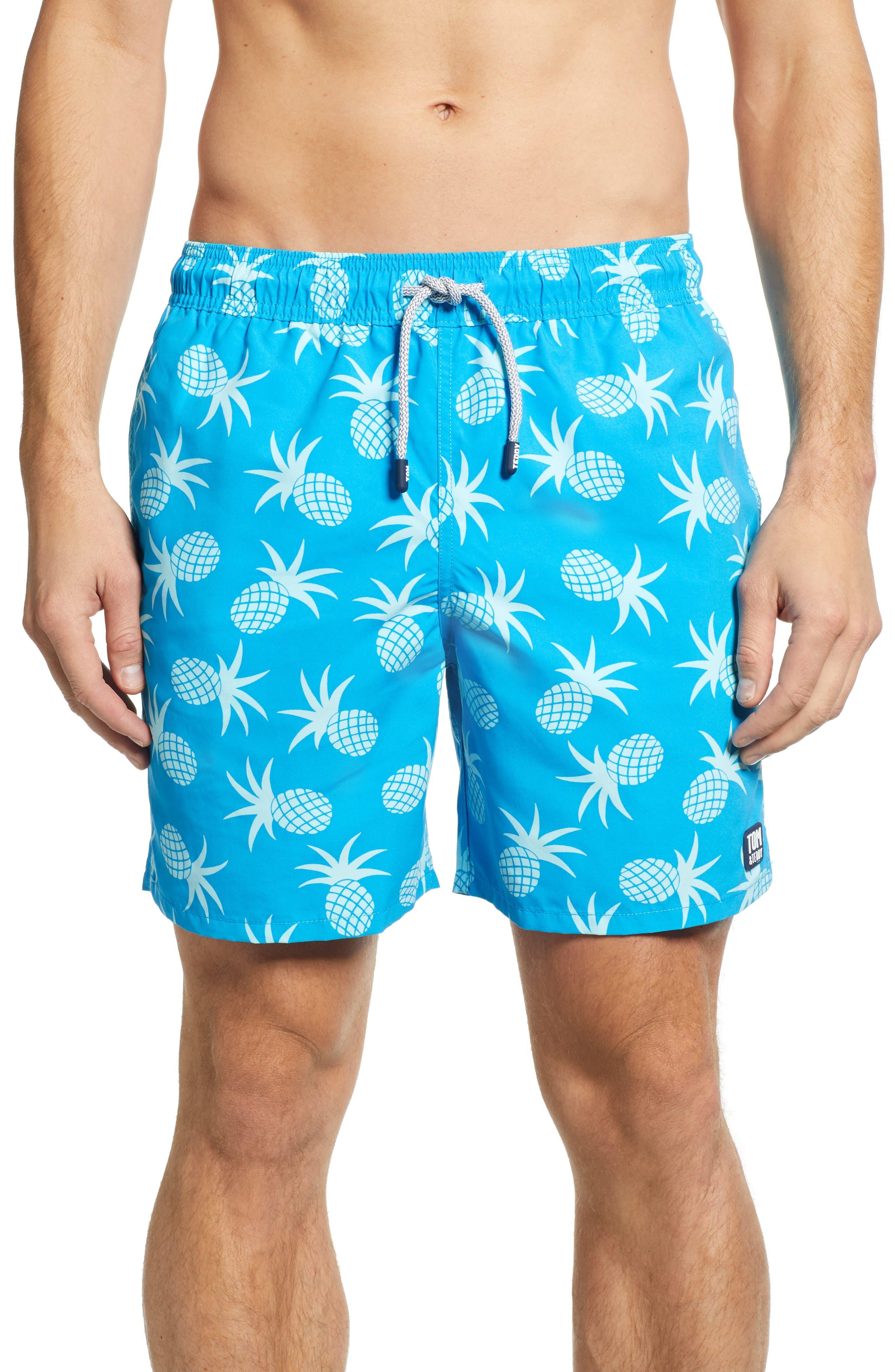 TOM & TEDDY Pineapple Print Swim Trunks in Crystal Blue
