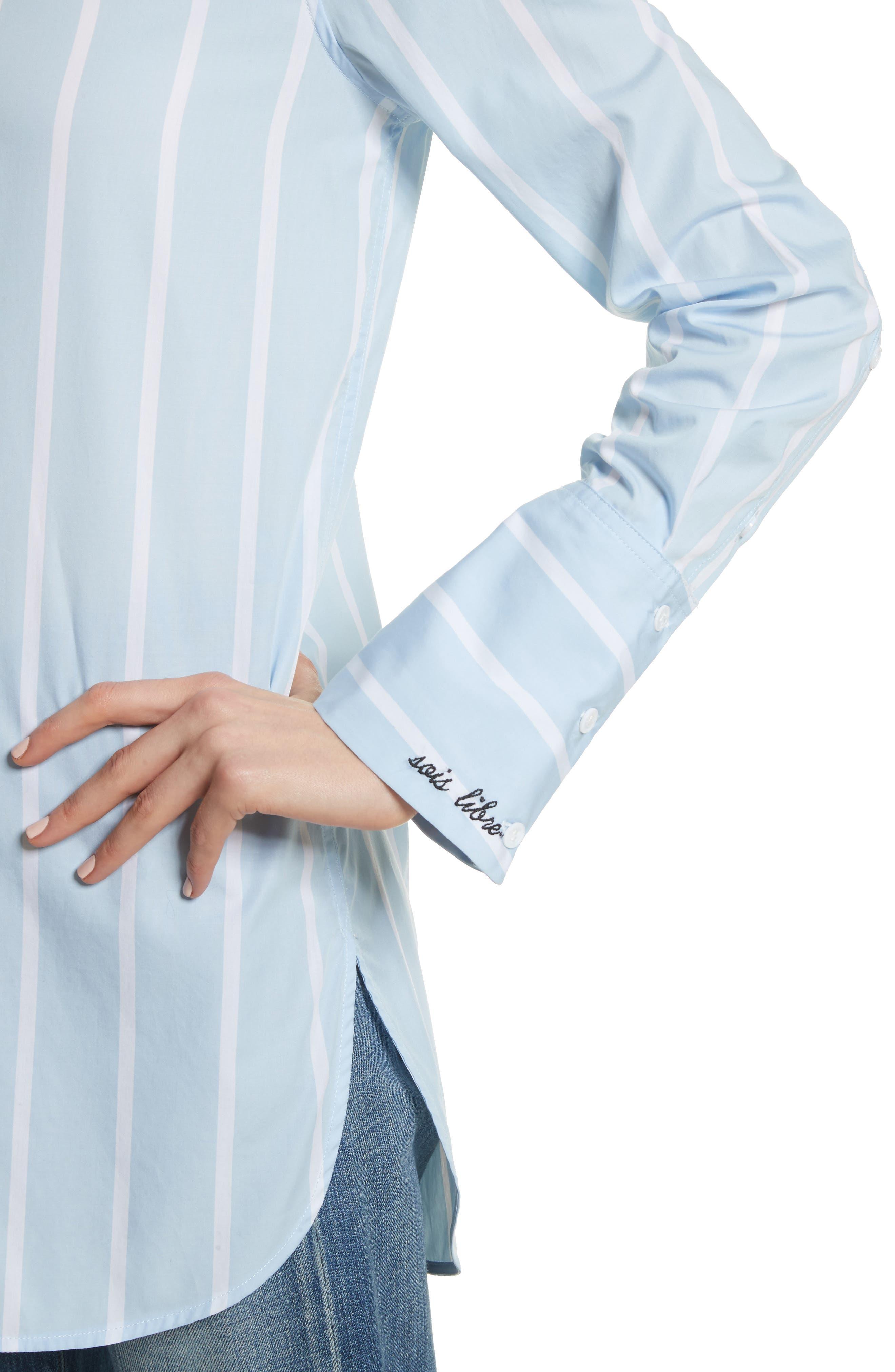 Arlette Stripe Cotton Shirt,                             Alternate thumbnail 4, color,                             498