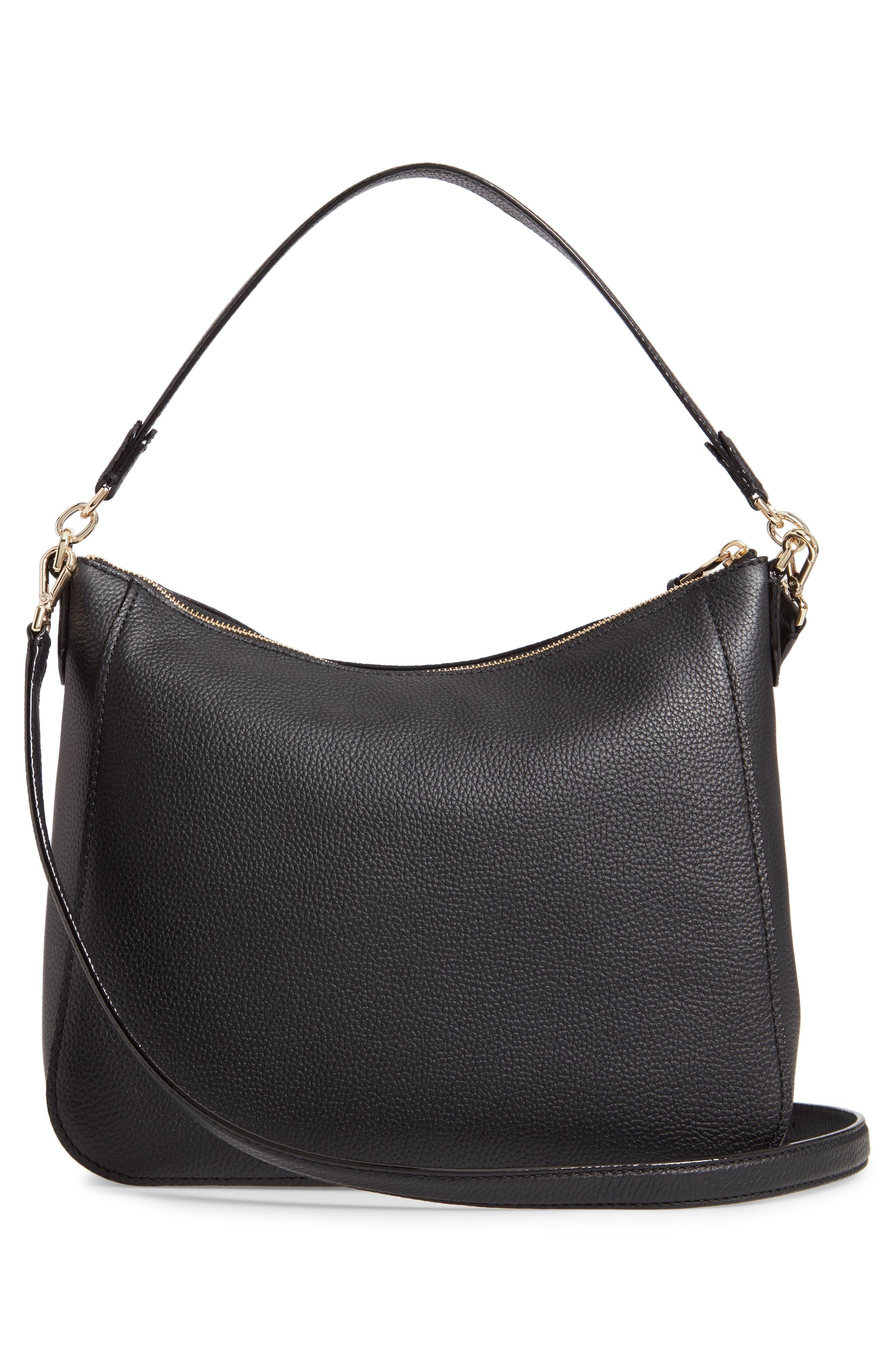 jackson street - quincy leather hobo,                             Alternate thumbnail 3, color,                             BLACK