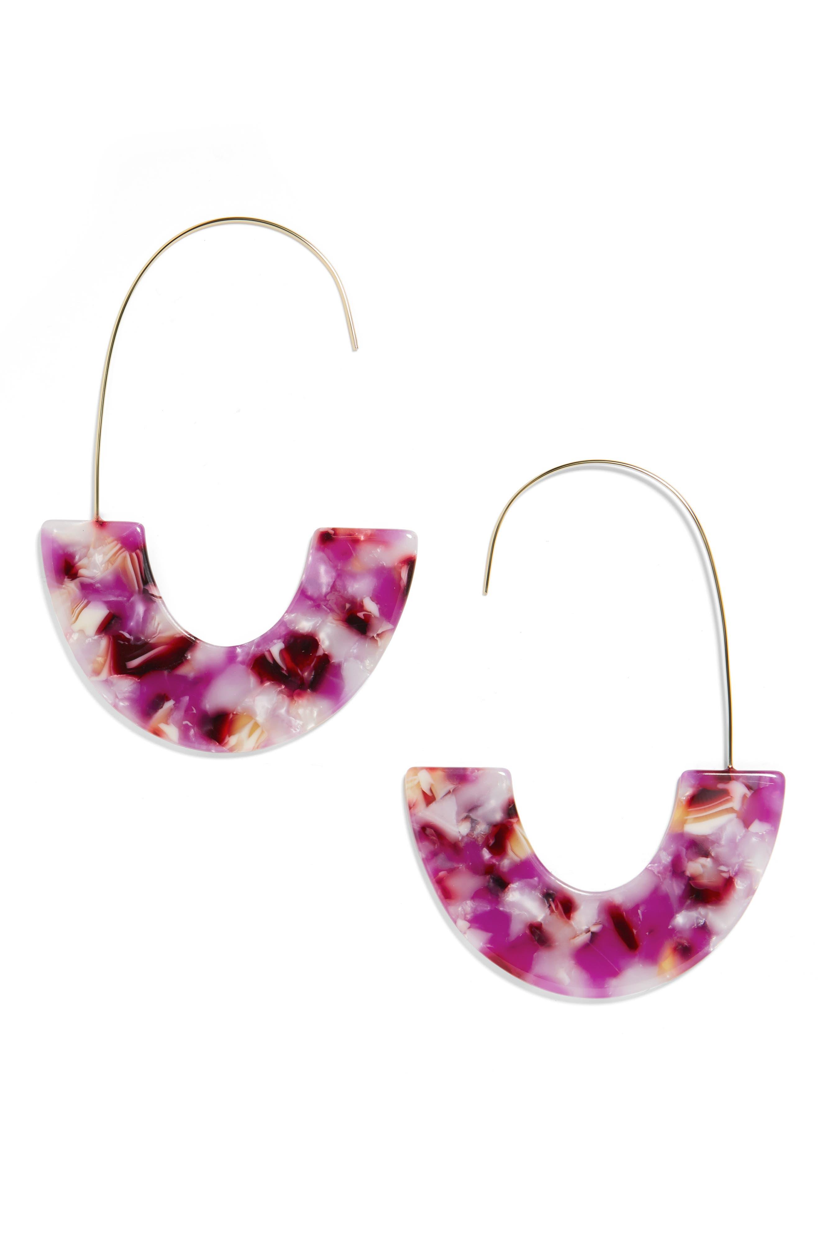 BAUBLEBAR Faidra Thin Drop Acrylic Oval Hoop Earrings in Lilac