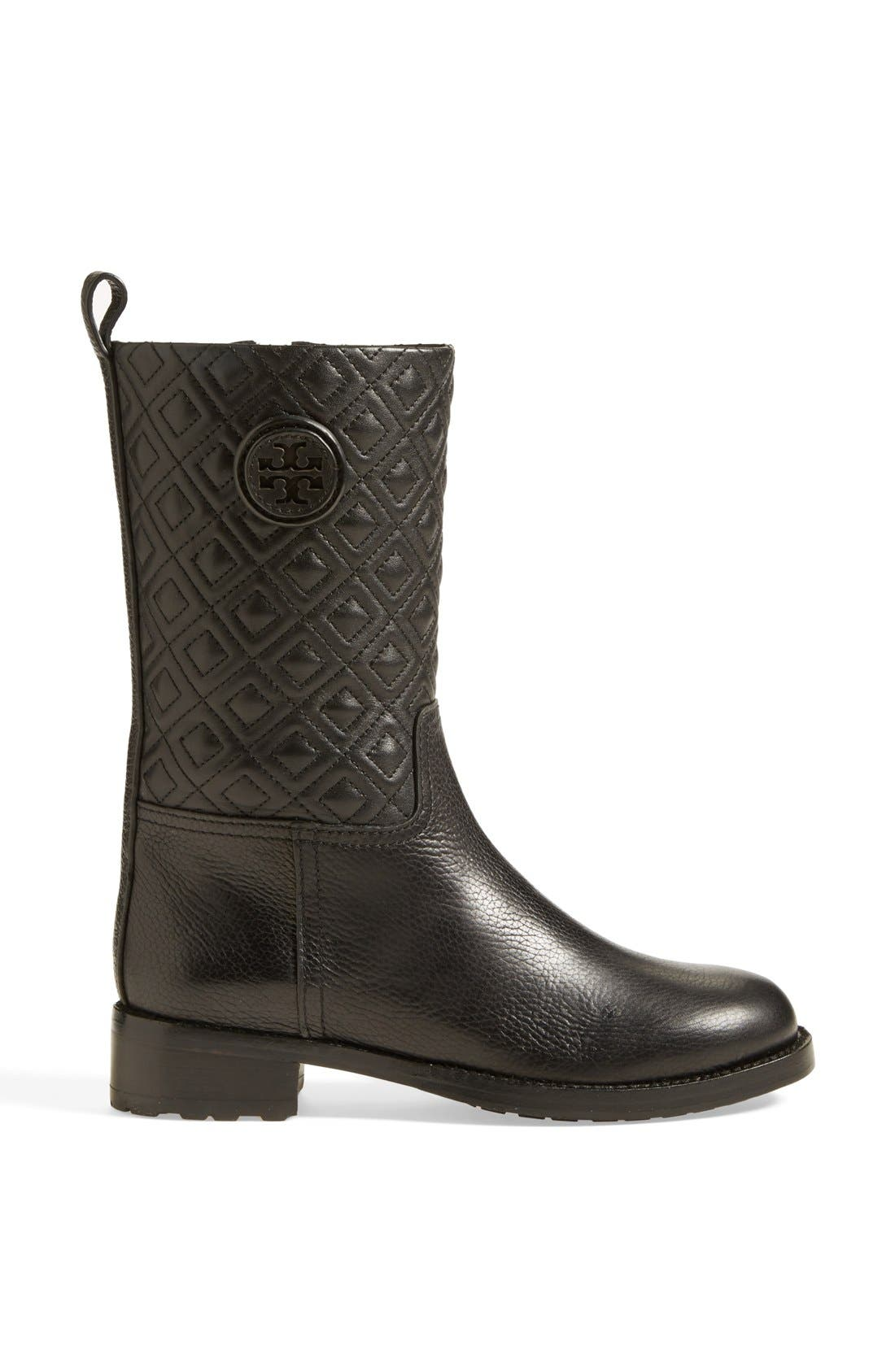 'Marion' Quilted Shaft Leather Boot,                             Alternate thumbnail 3, color,                             001