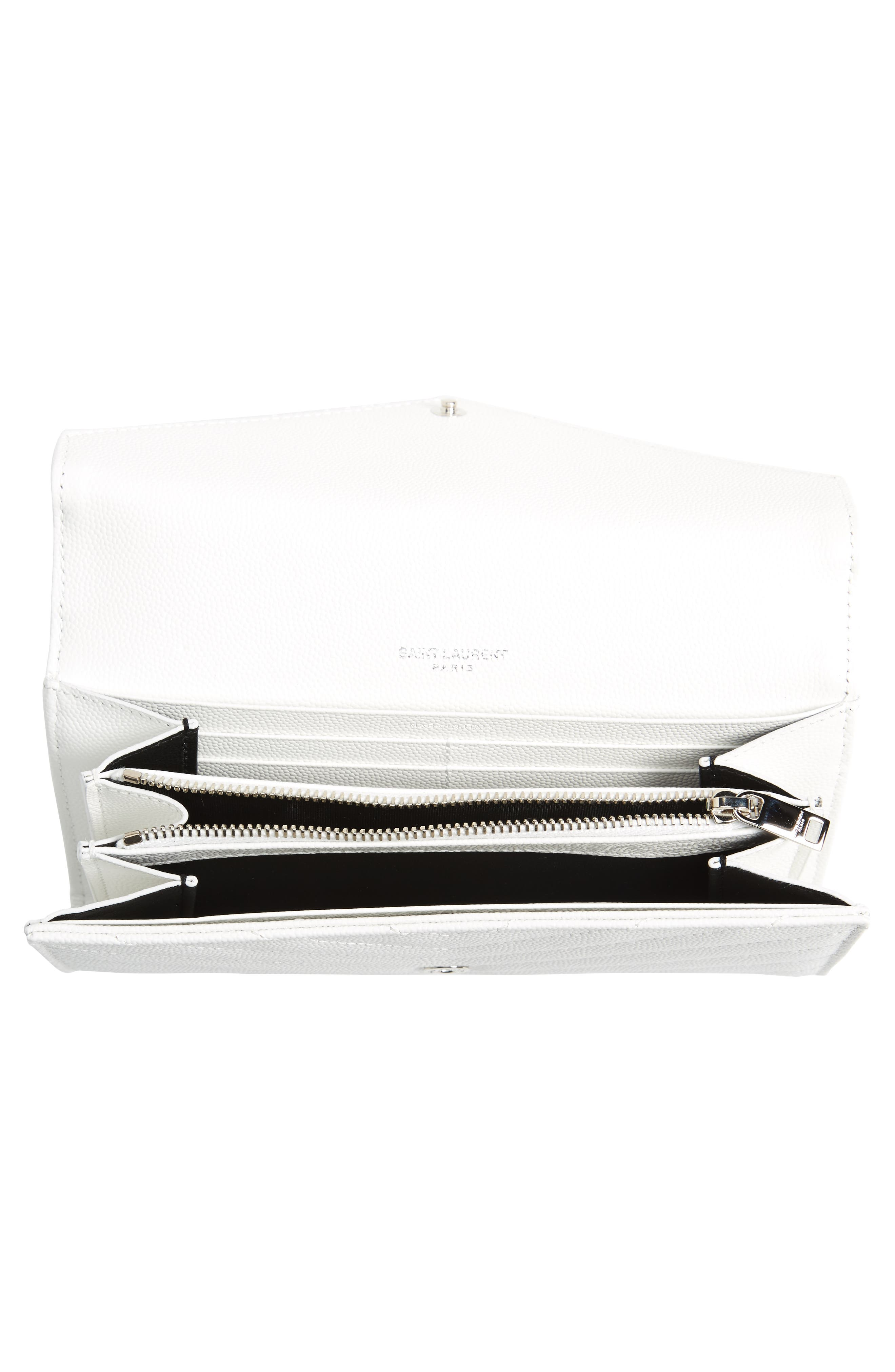 M atelassé Leather Envelope Wallet,                             Alternate thumbnail 4, color,                             OPTIC WHITE