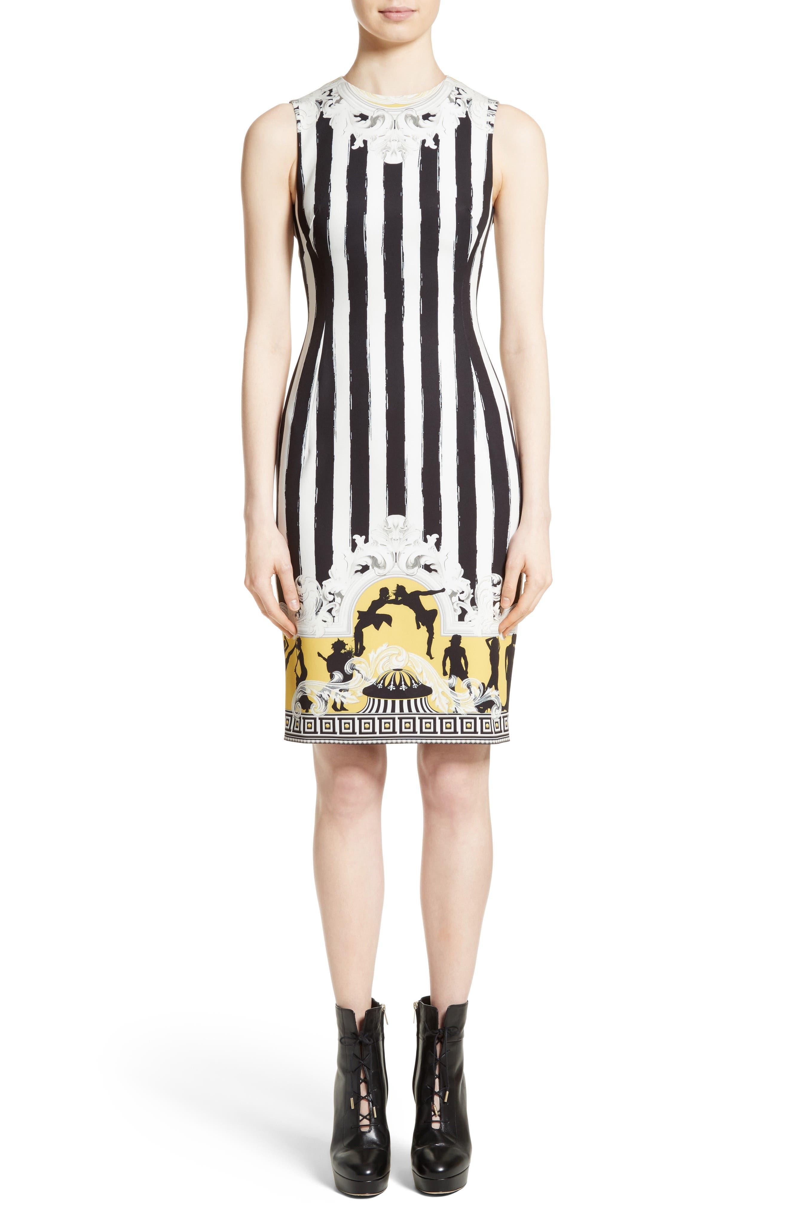 Placed Catwalk Print Silk Dress,                         Main,                         color, 100