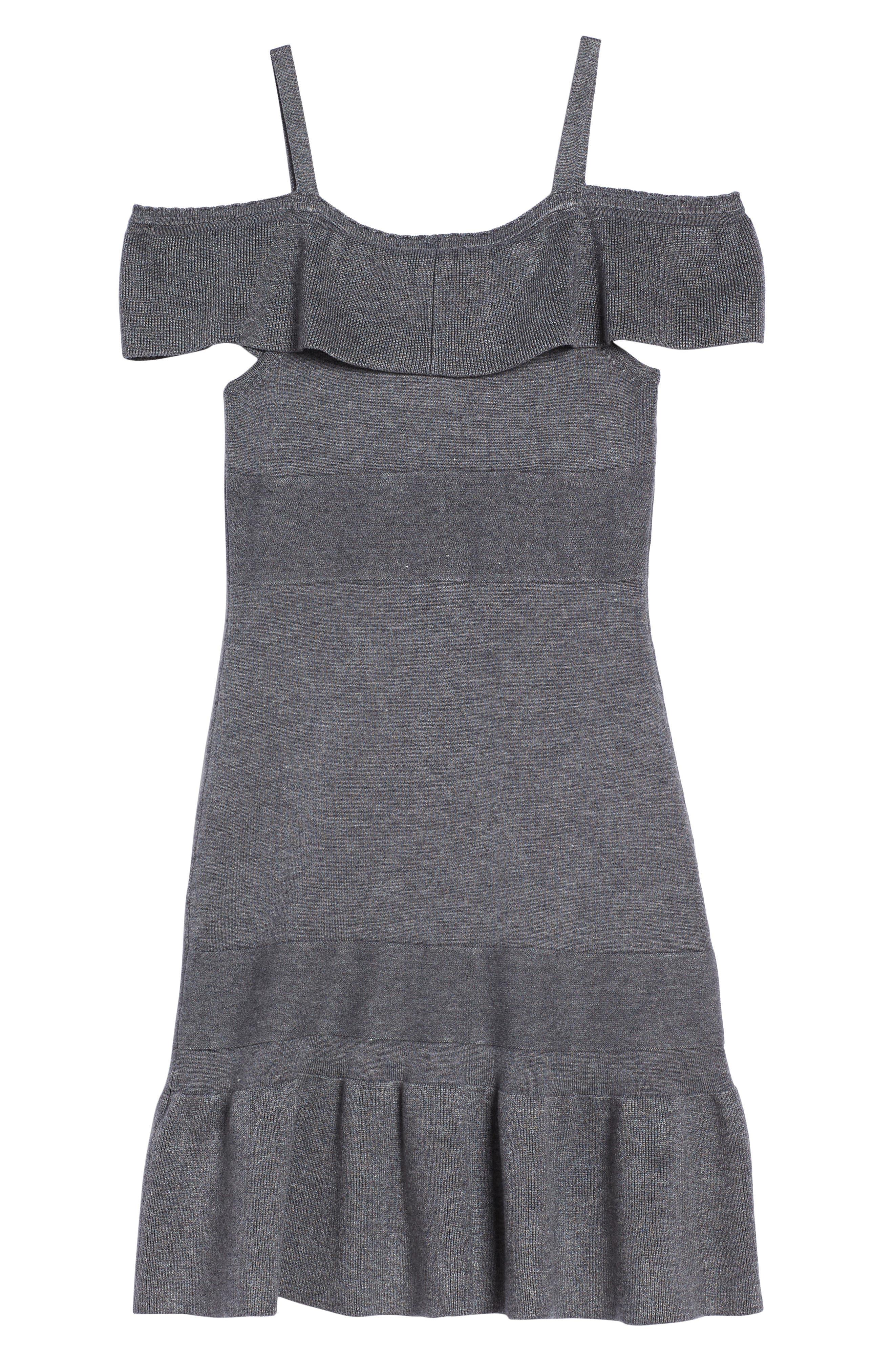 Ruffle Cold Shoulder Dress,                             Alternate thumbnail 2, color,                             020