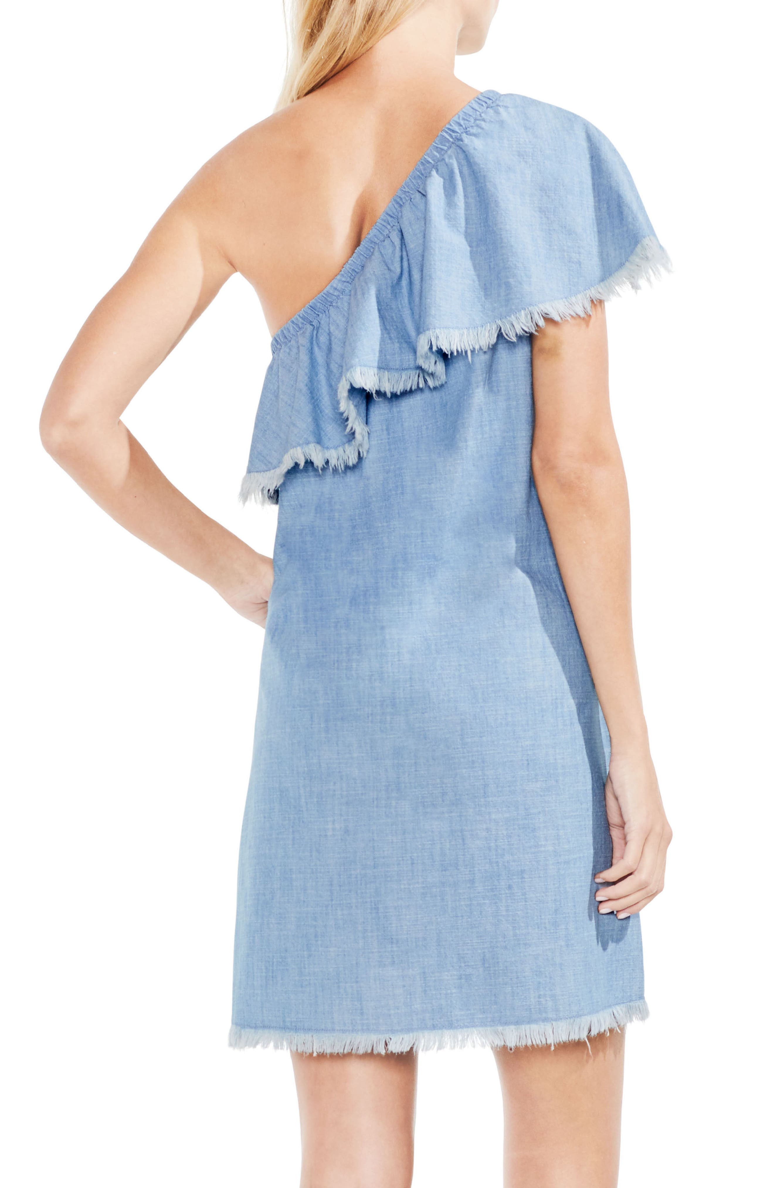 Frayed Ruffle One-Shoulder Chambray Dress,                             Alternate thumbnail 2, color,