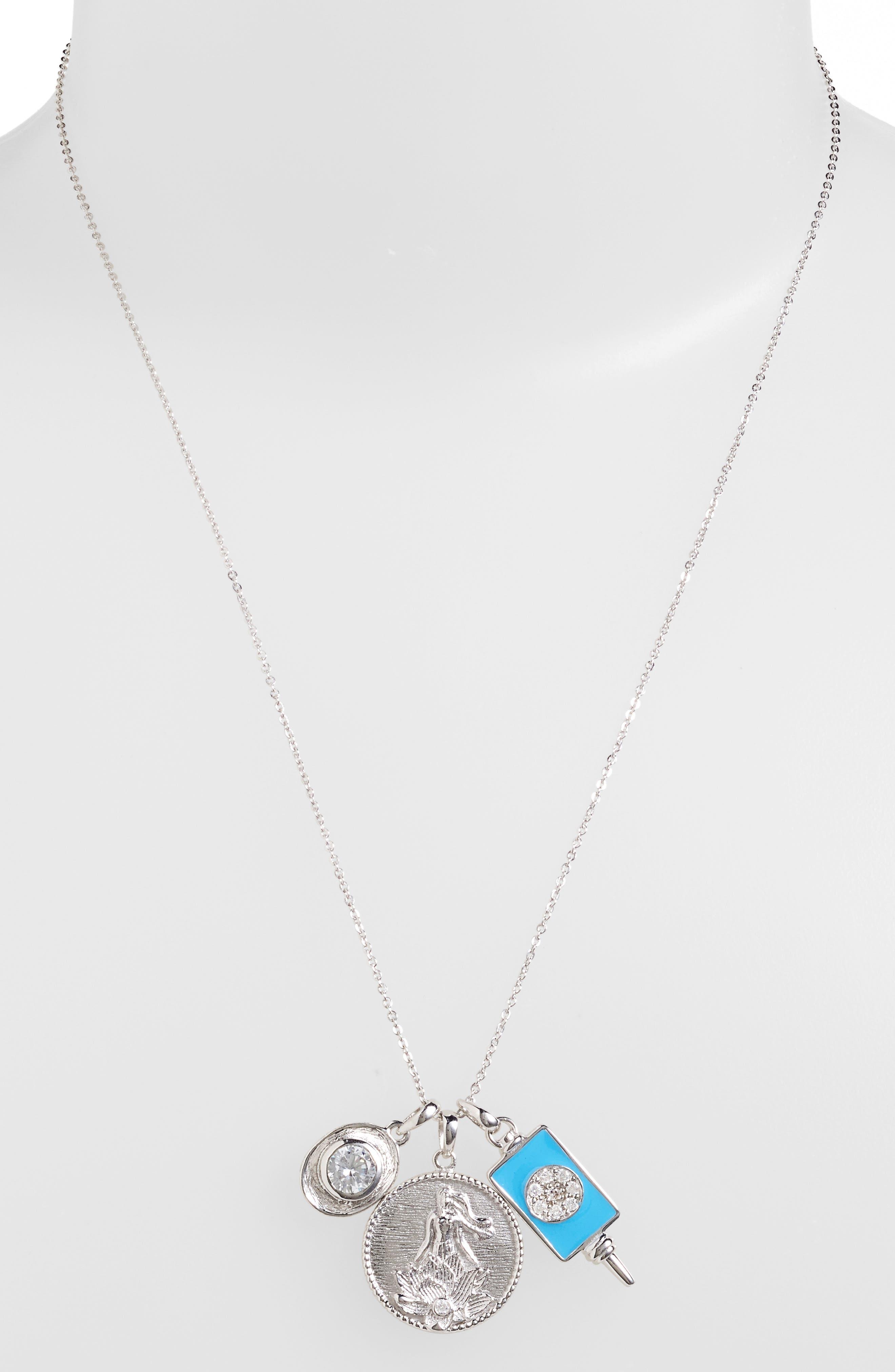 Goddess of Good Fortune Cluster Pendant Necklace,                             Alternate thumbnail 3, color,                             040