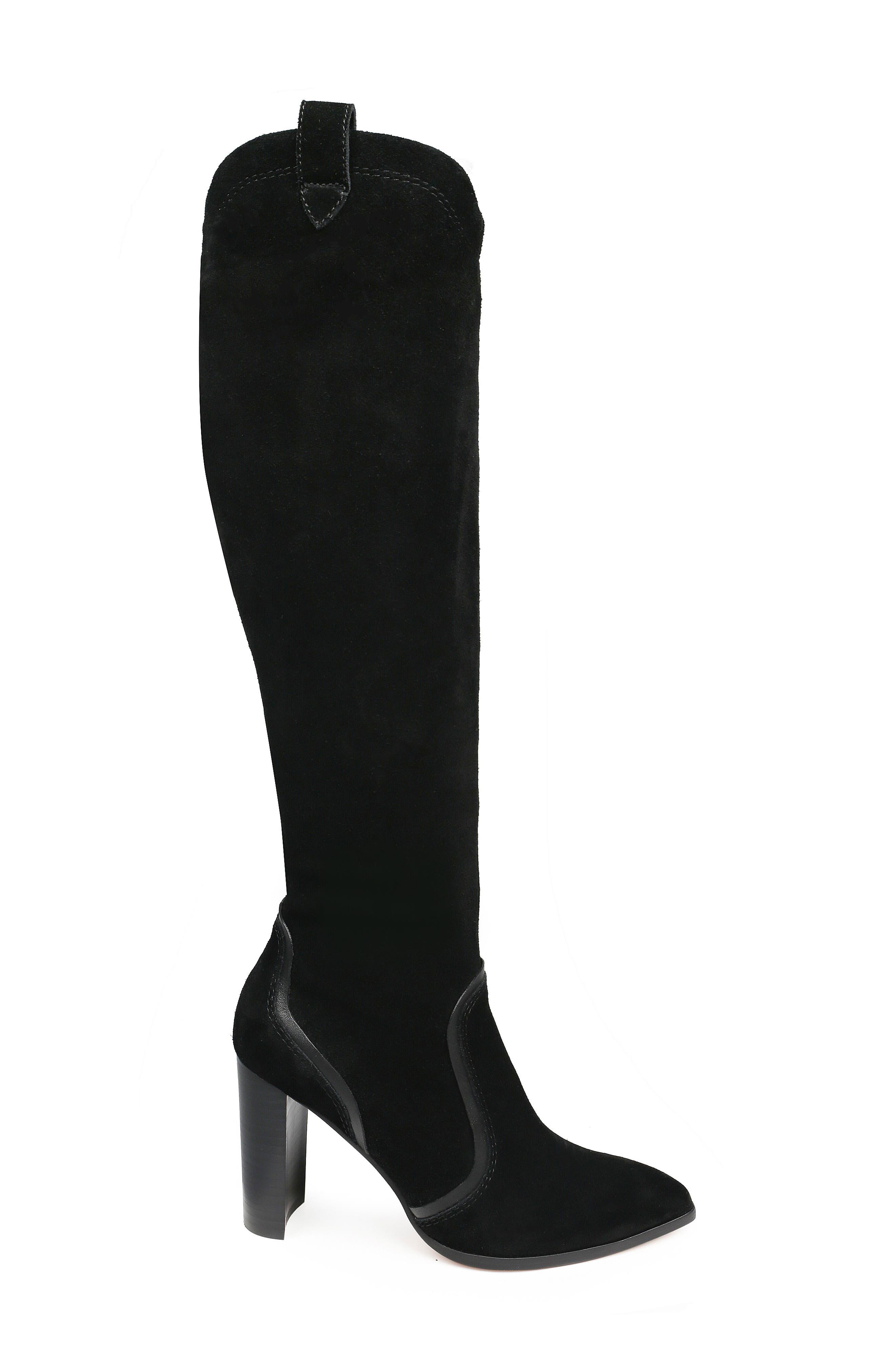 Caren Knee High Boot,                             Alternate thumbnail 3, color,                             BLACK SUEDE