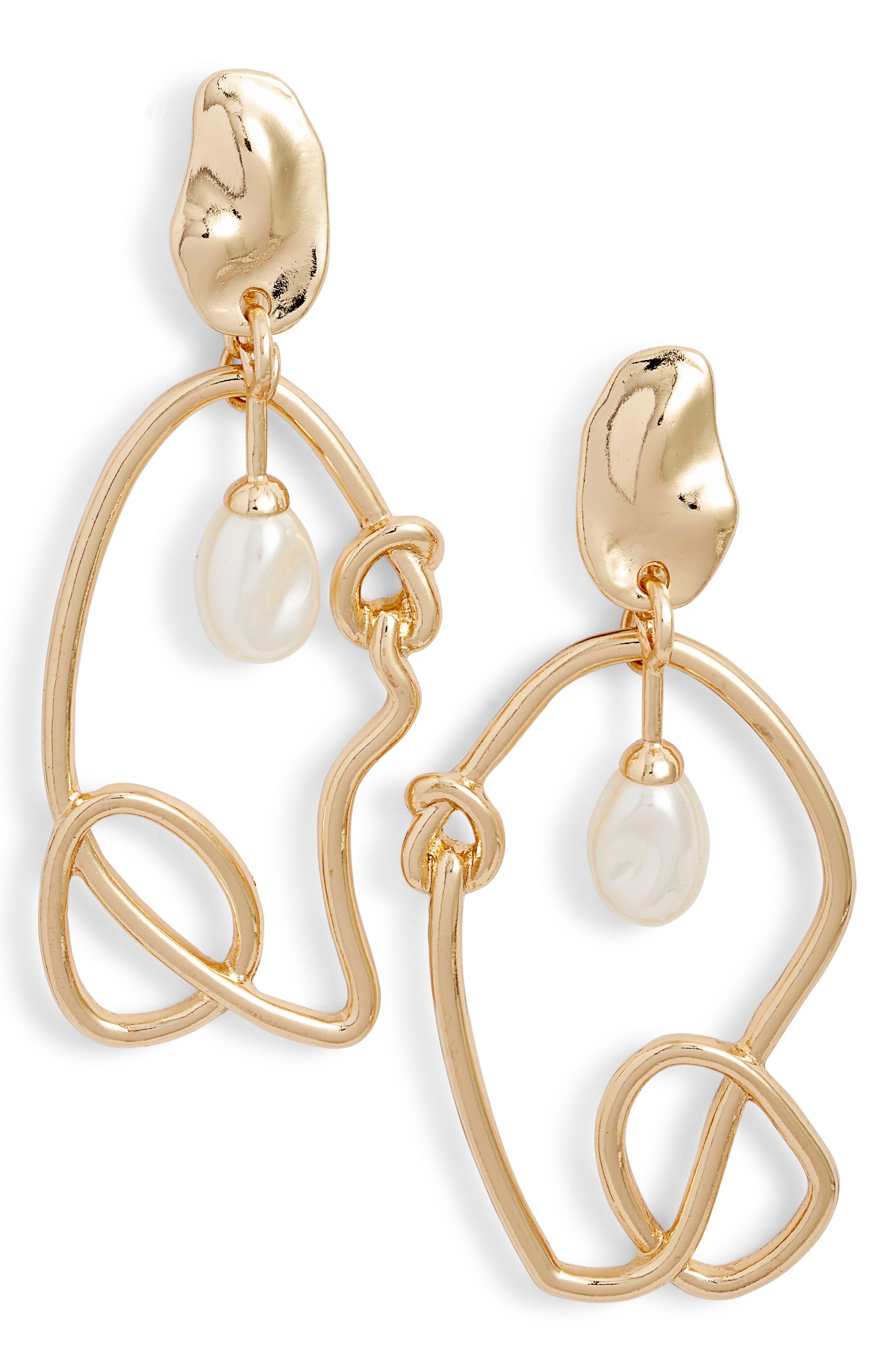 ZHUU,                             Imiation Pearl Twist Earrings,                             Main thumbnail 1, color,                             GOLD