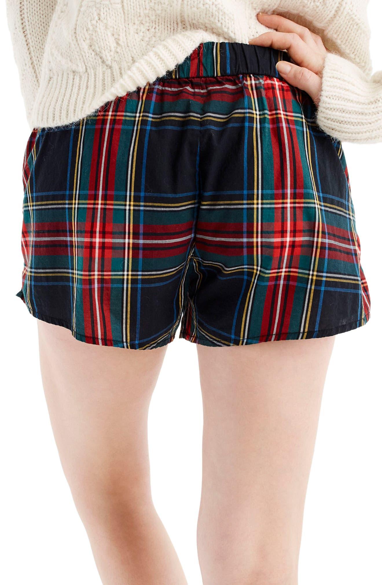 Tartan Plaid Pajama Shorts,                             Alternate thumbnail 3, color,                             600