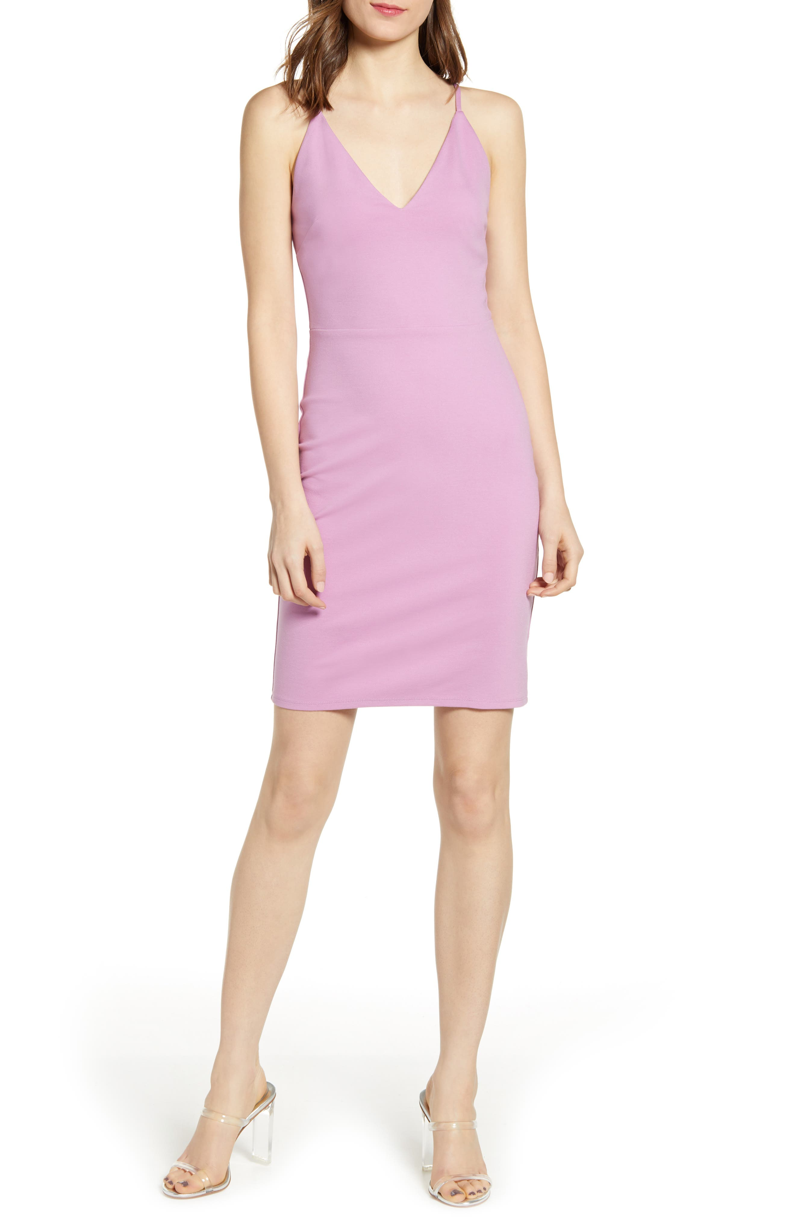 Socialite V-Neck Crossback Sheath Dress, Purple