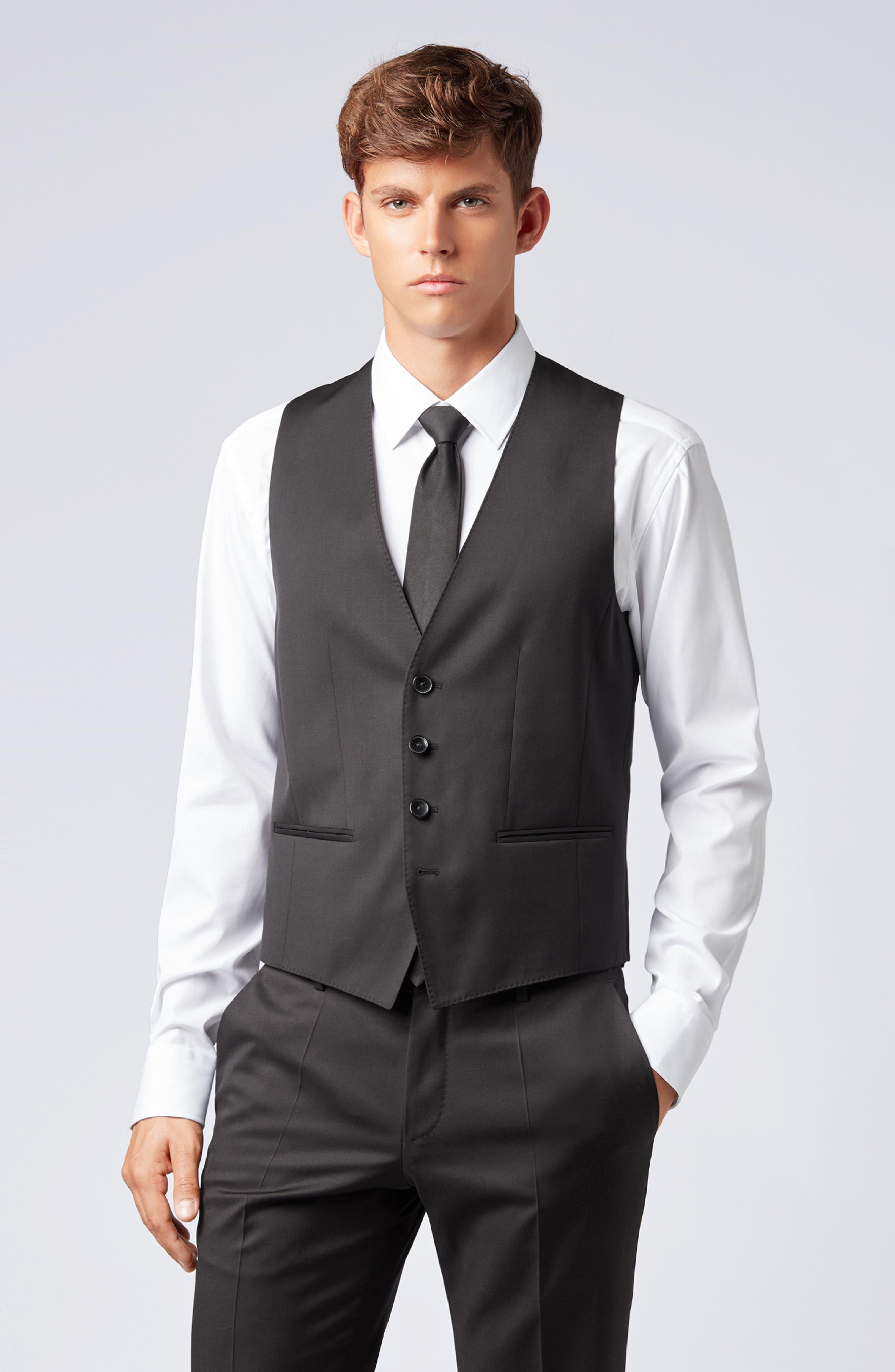 BOSS,                             Wilson CYL Trim Fit Vest,                             Alternate thumbnail 8, color,                             BLACK