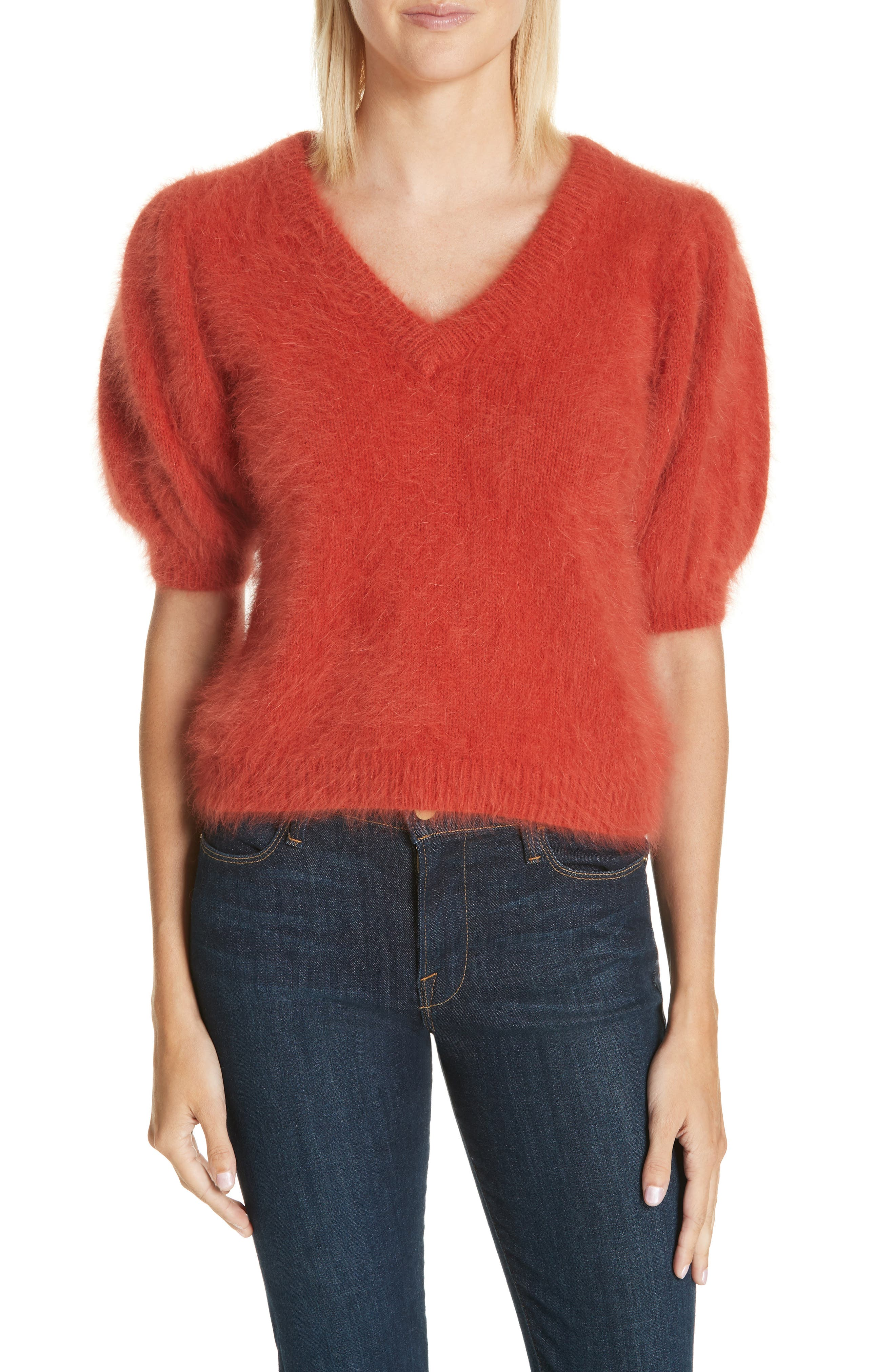 Aries Puff Sleeve Sweater,                             Main thumbnail 1, color,                             CRIMSON