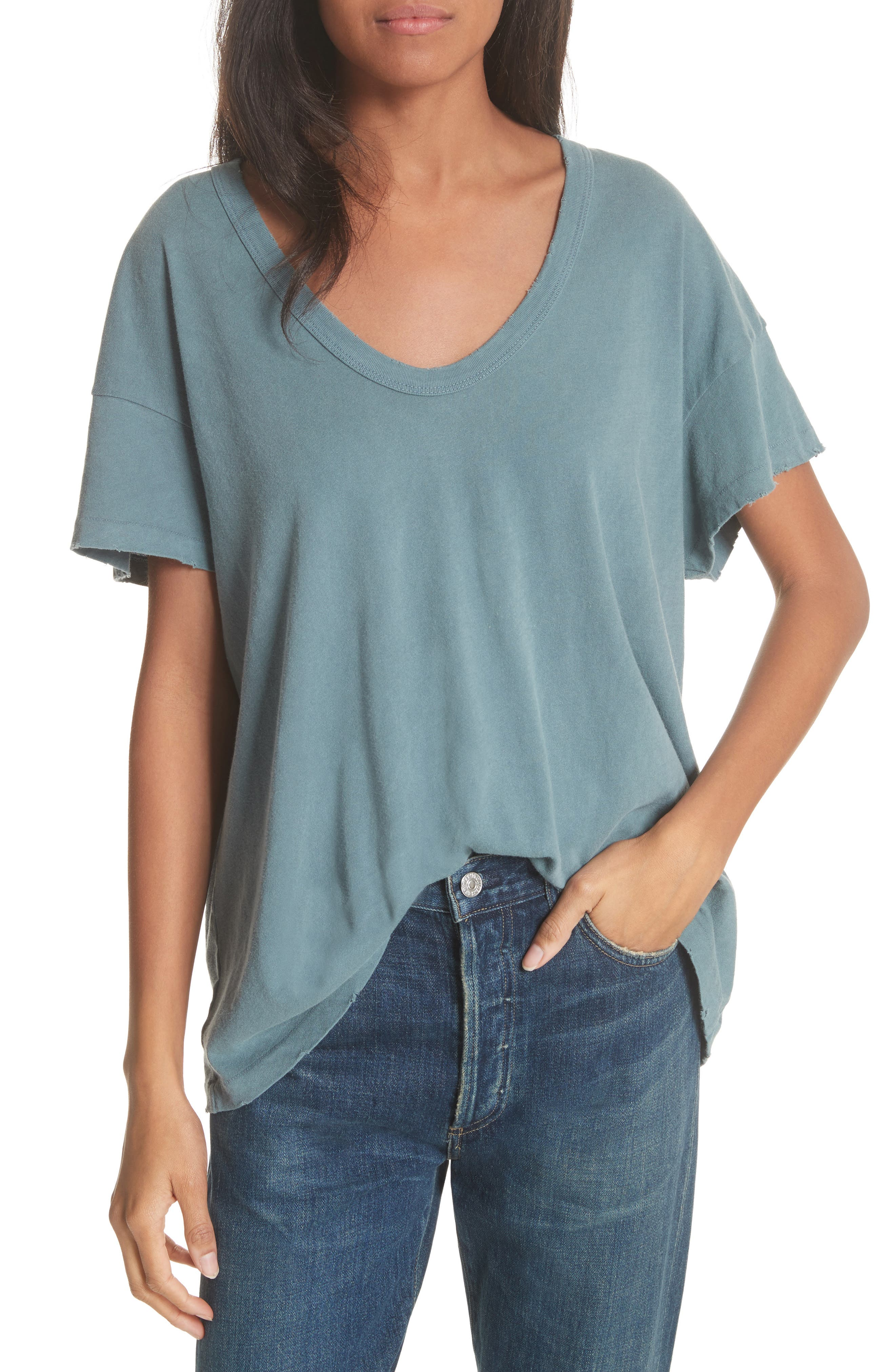 U-Neck Tee,                         Main,                         color, MOTTLED BLUE