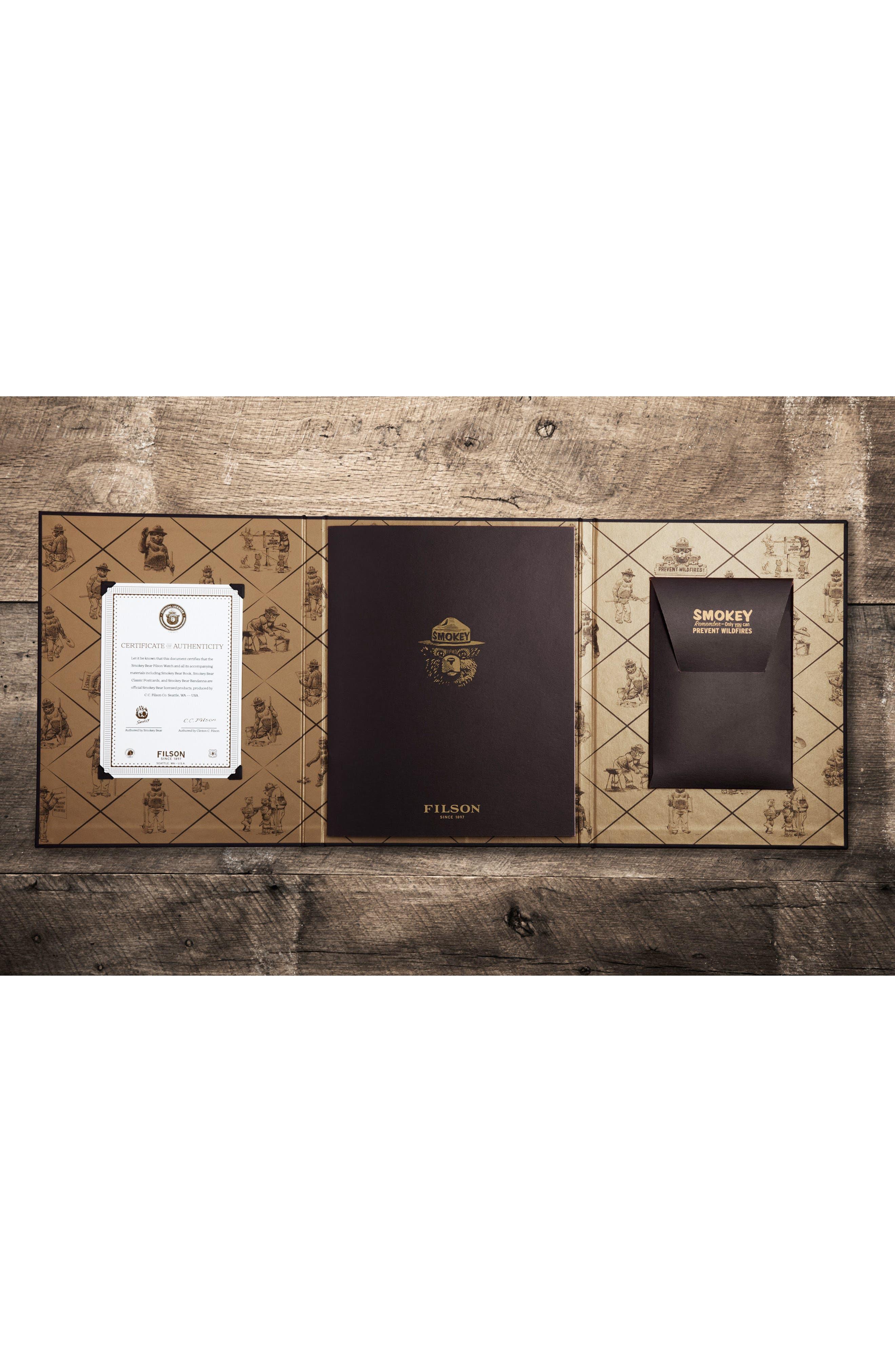 SHINOLA,                             x Filson The Smokey Bear Leather Strap Watch Gift Set, 43mm,                             Alternate thumbnail 7, color,                             200
