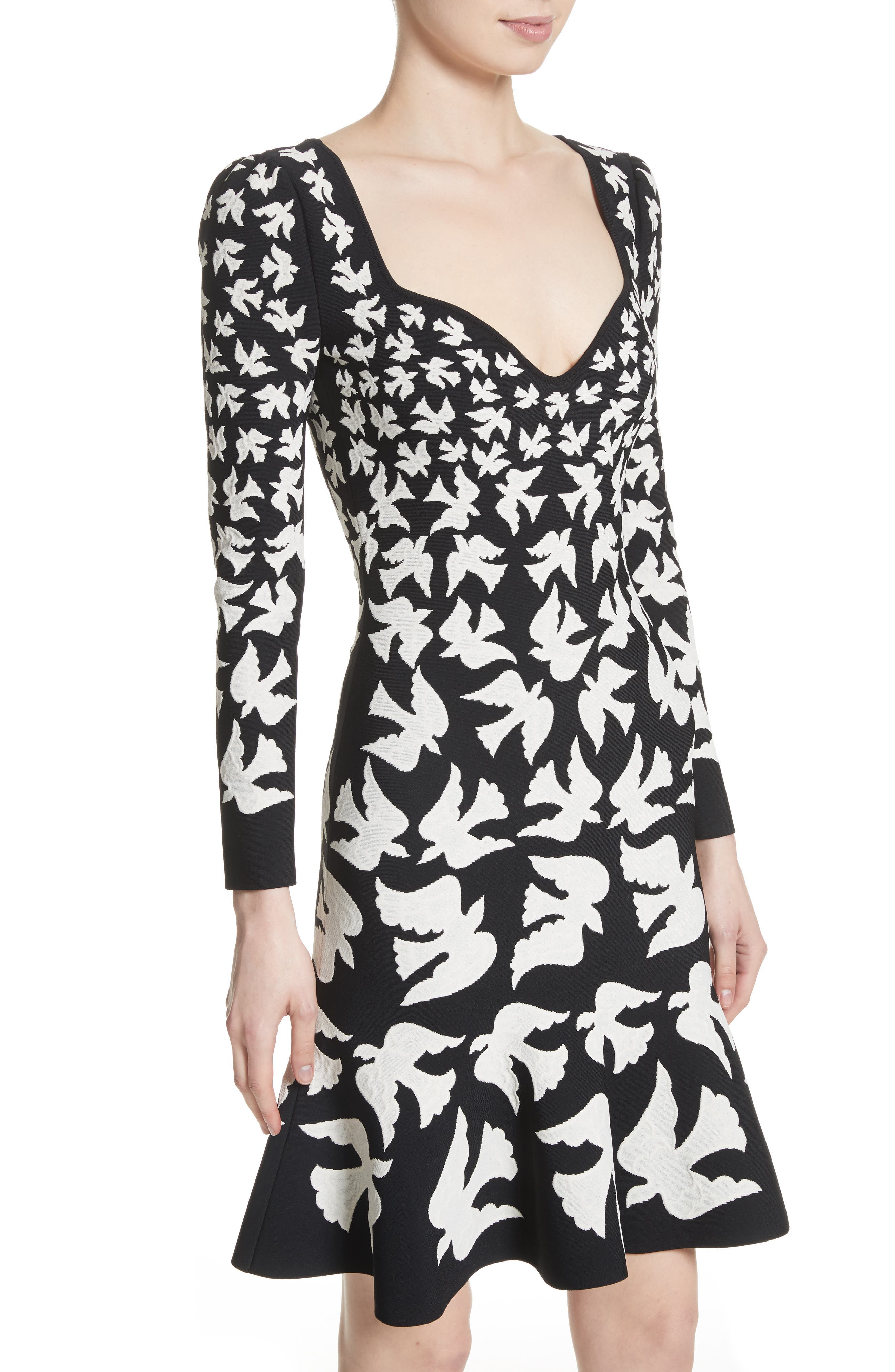 Bicolor Swallow Jacquard Dress,                             Alternate thumbnail 4, color,                             001