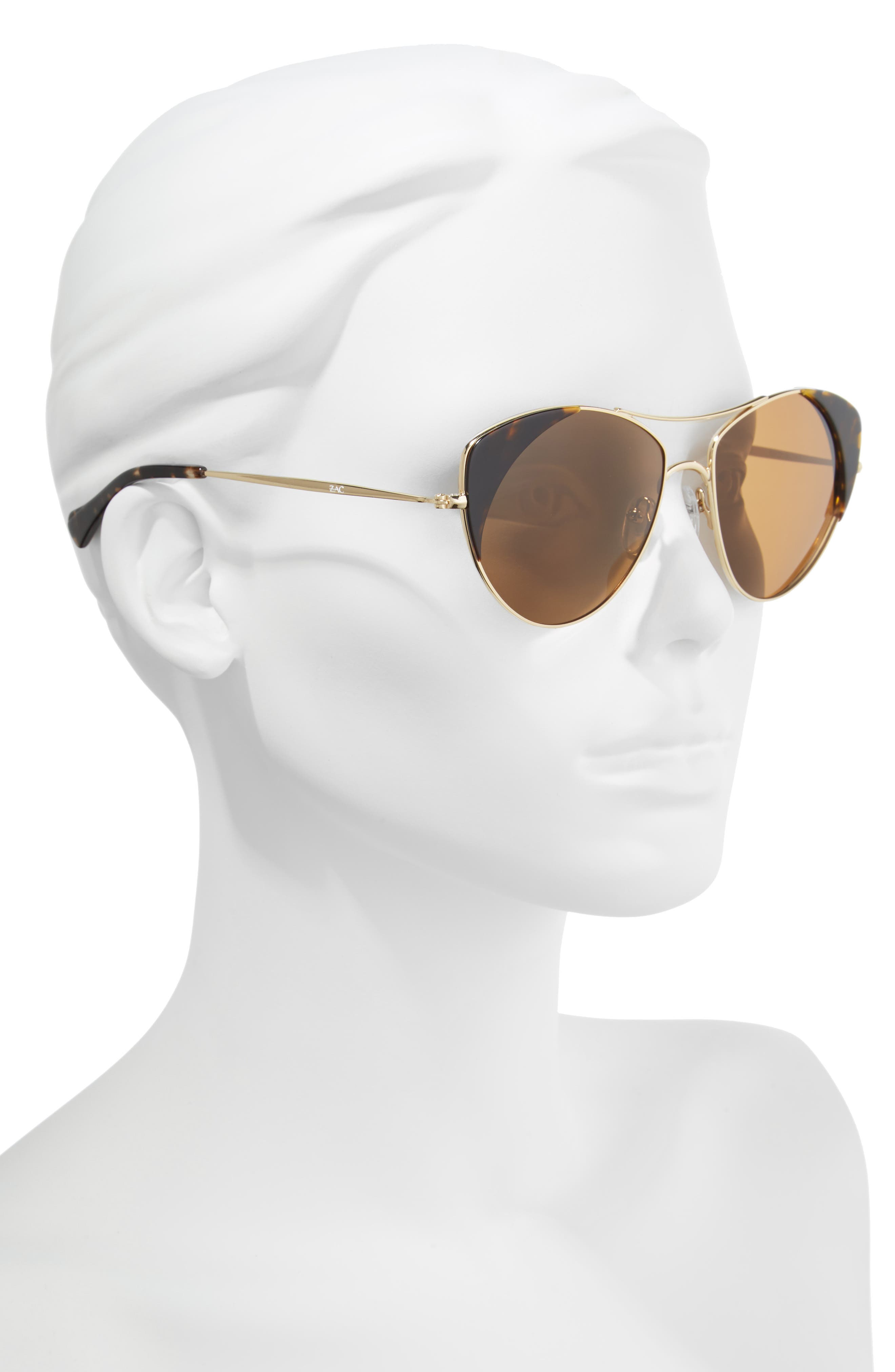Birdie 59mm Polarized Aviator Sunglasses,                             Alternate thumbnail 2, color,                             TORTOISE POLAR/ BROWN