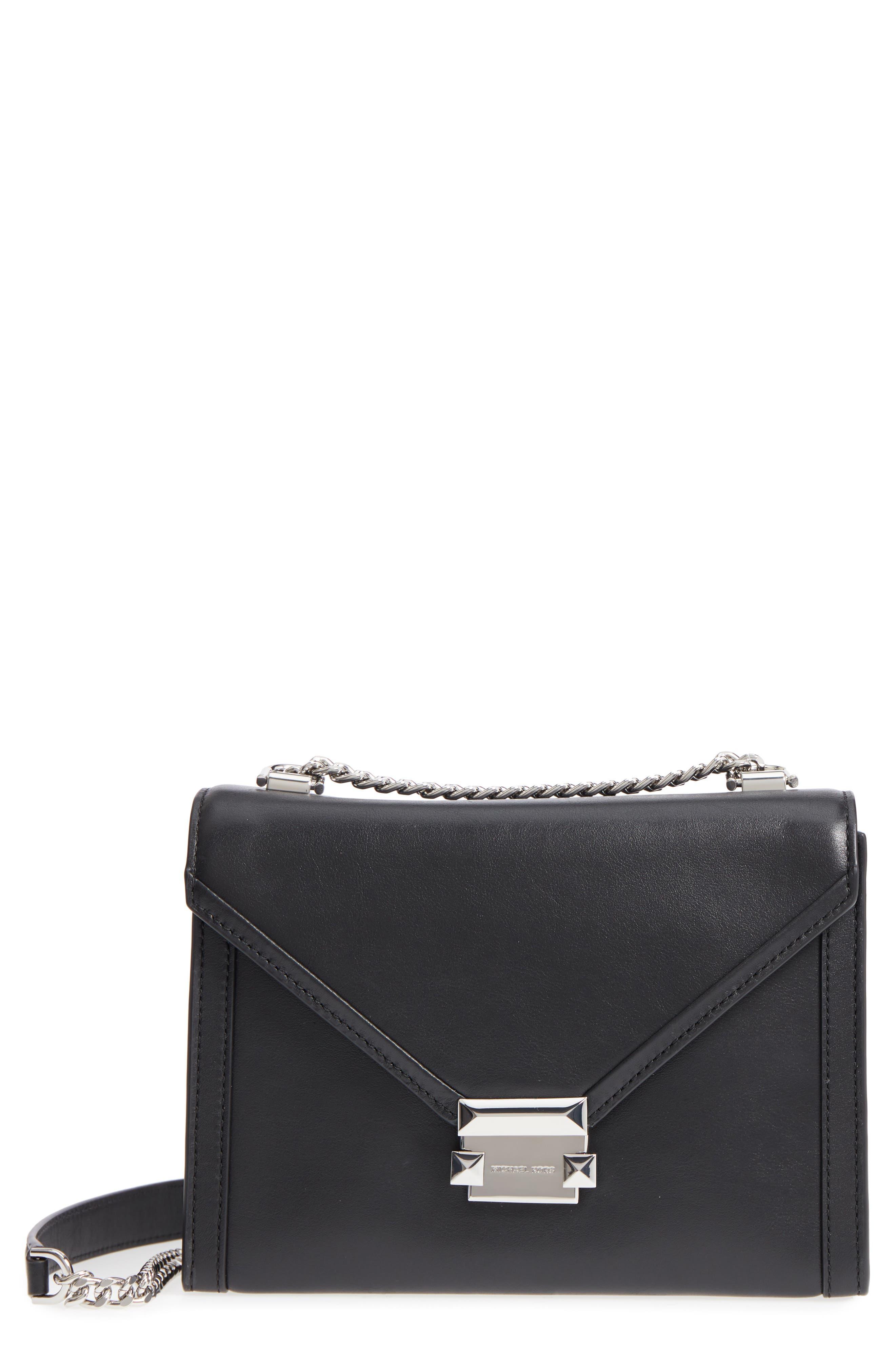 Large Whitney Leather Shoulder Bag,                         Main,                         color, BLACK