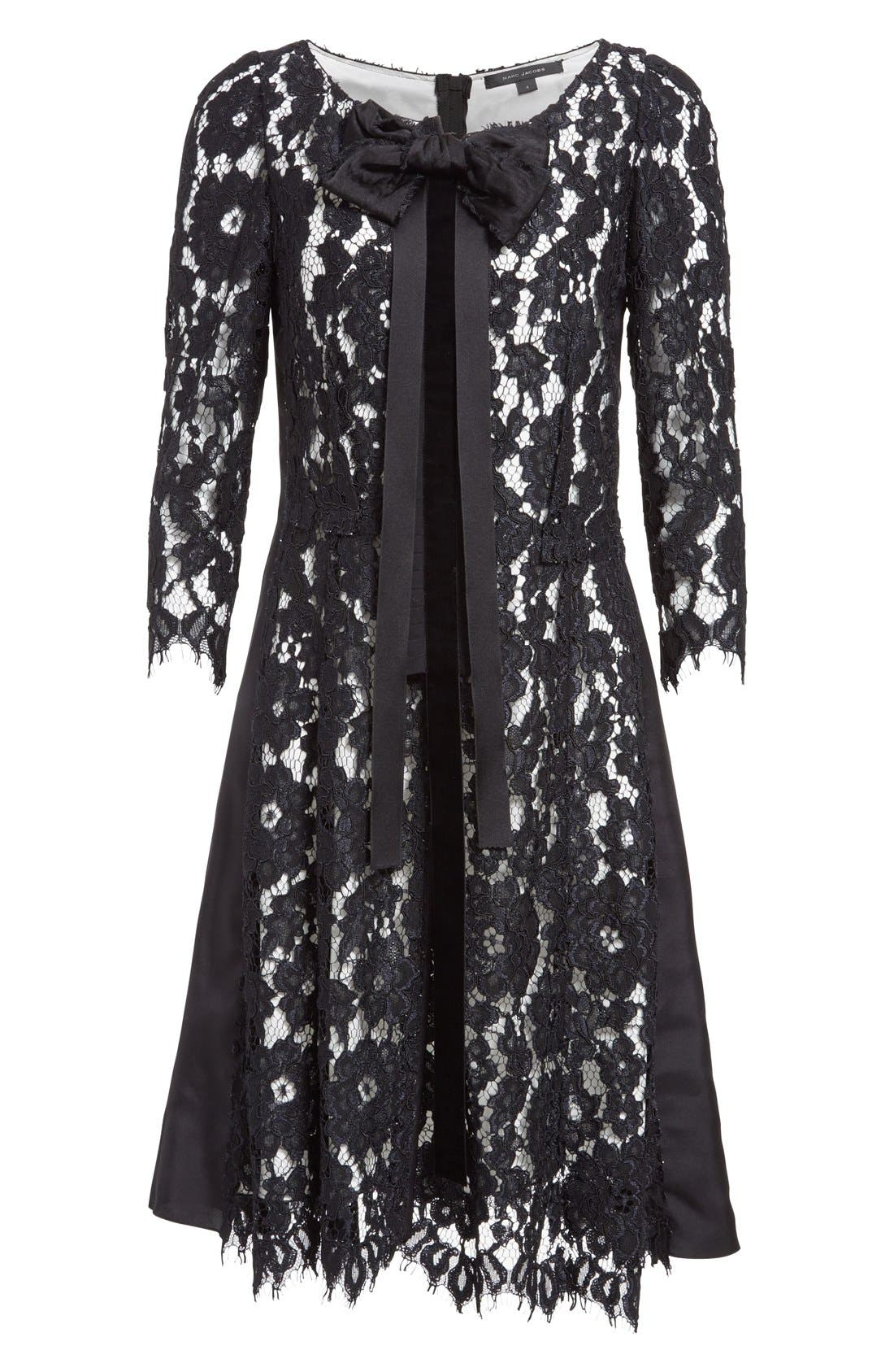 Bow Detail Lace Shift Dress,                             Alternate thumbnail 4, color,                             001